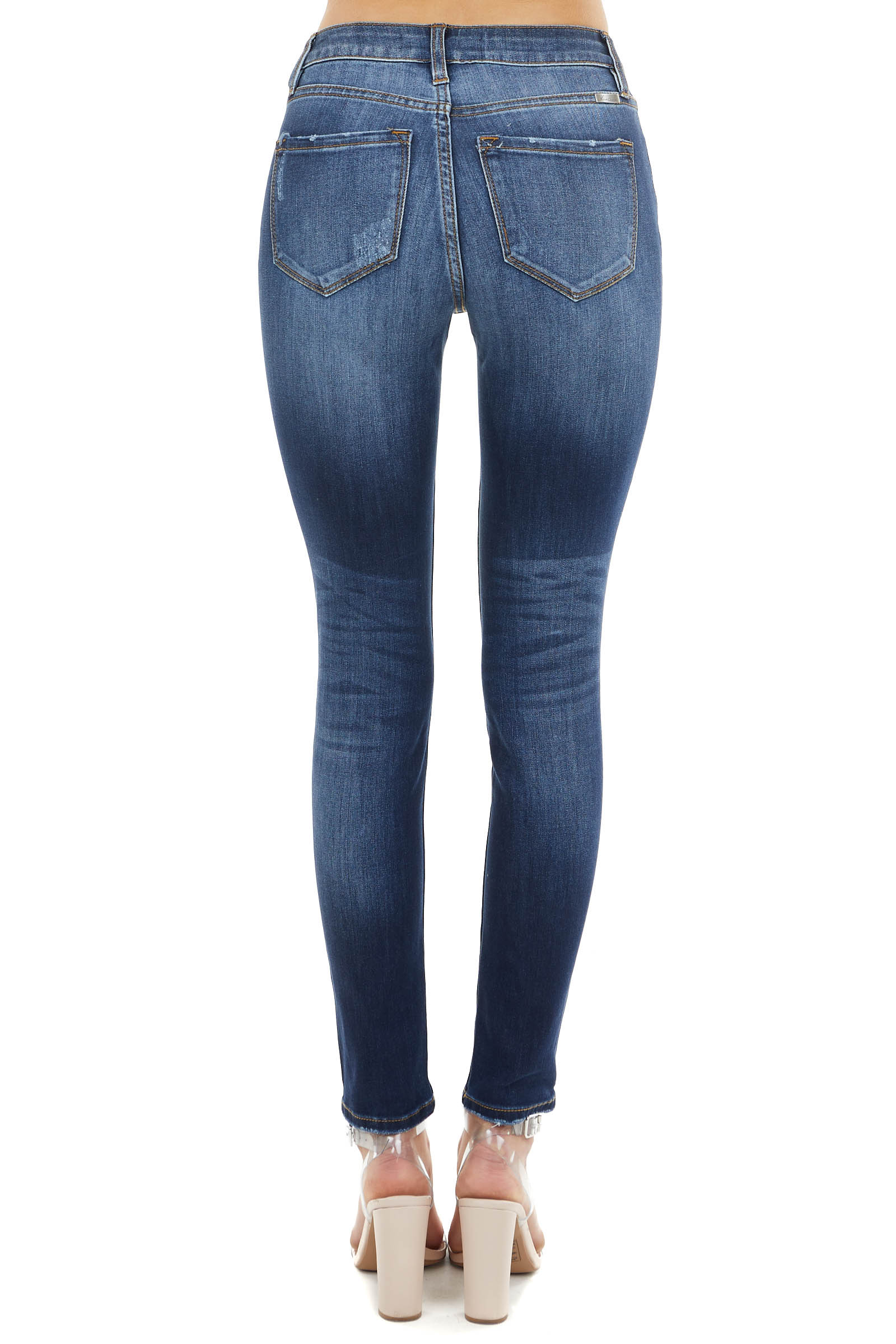 Dark Wash High Rise Skinny Jeans with Frayed Details