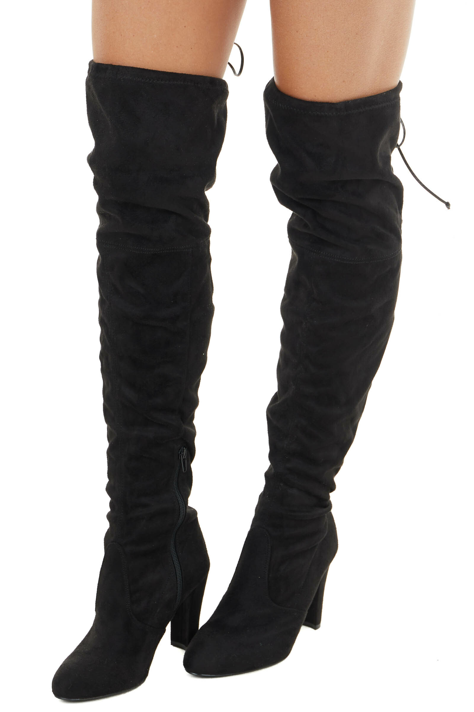 Black Faux Suede Above the Knee High Heel Boots with Tie