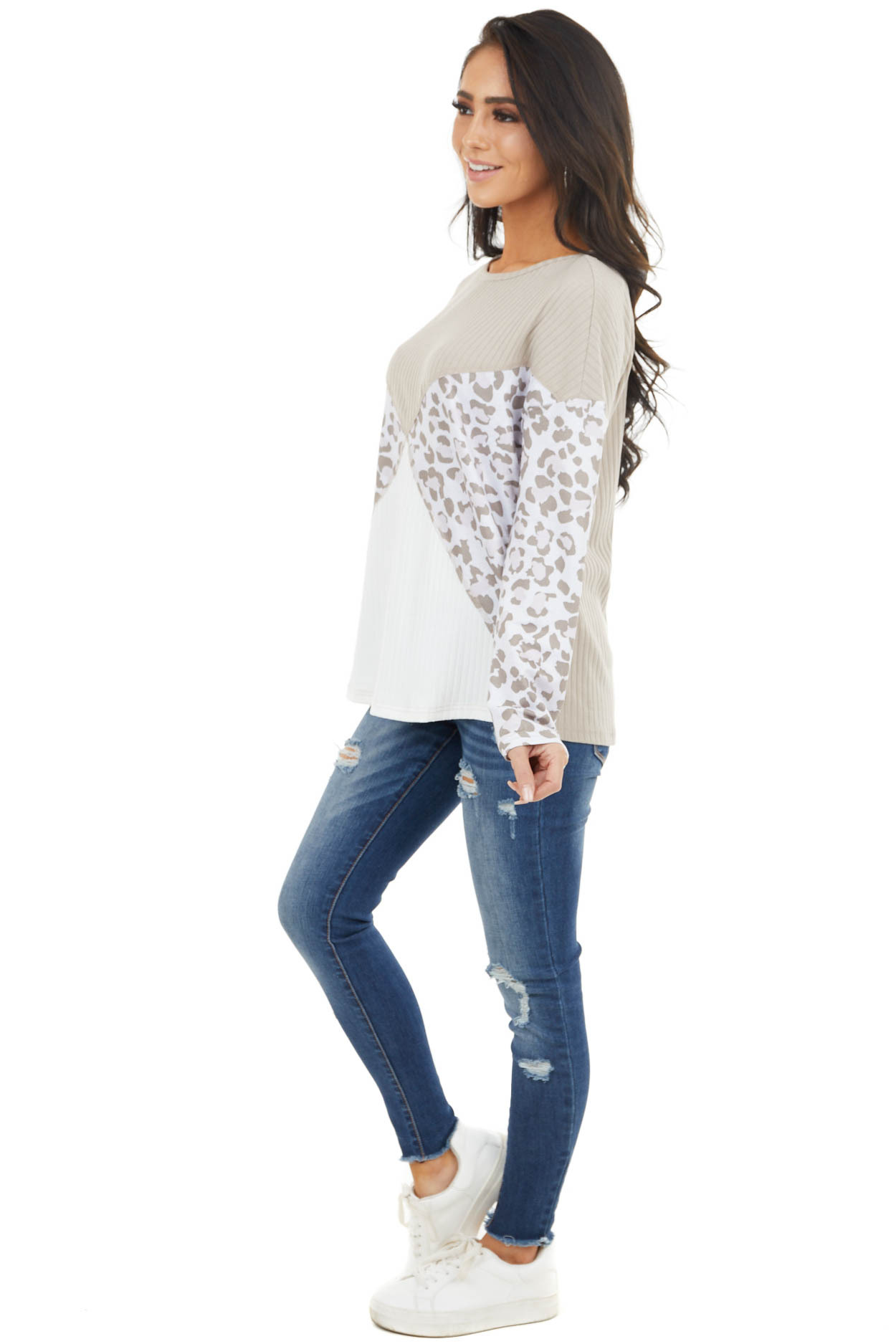 Latte and Ivory Leopard Colorblock Long Sleeve Ribbed Top