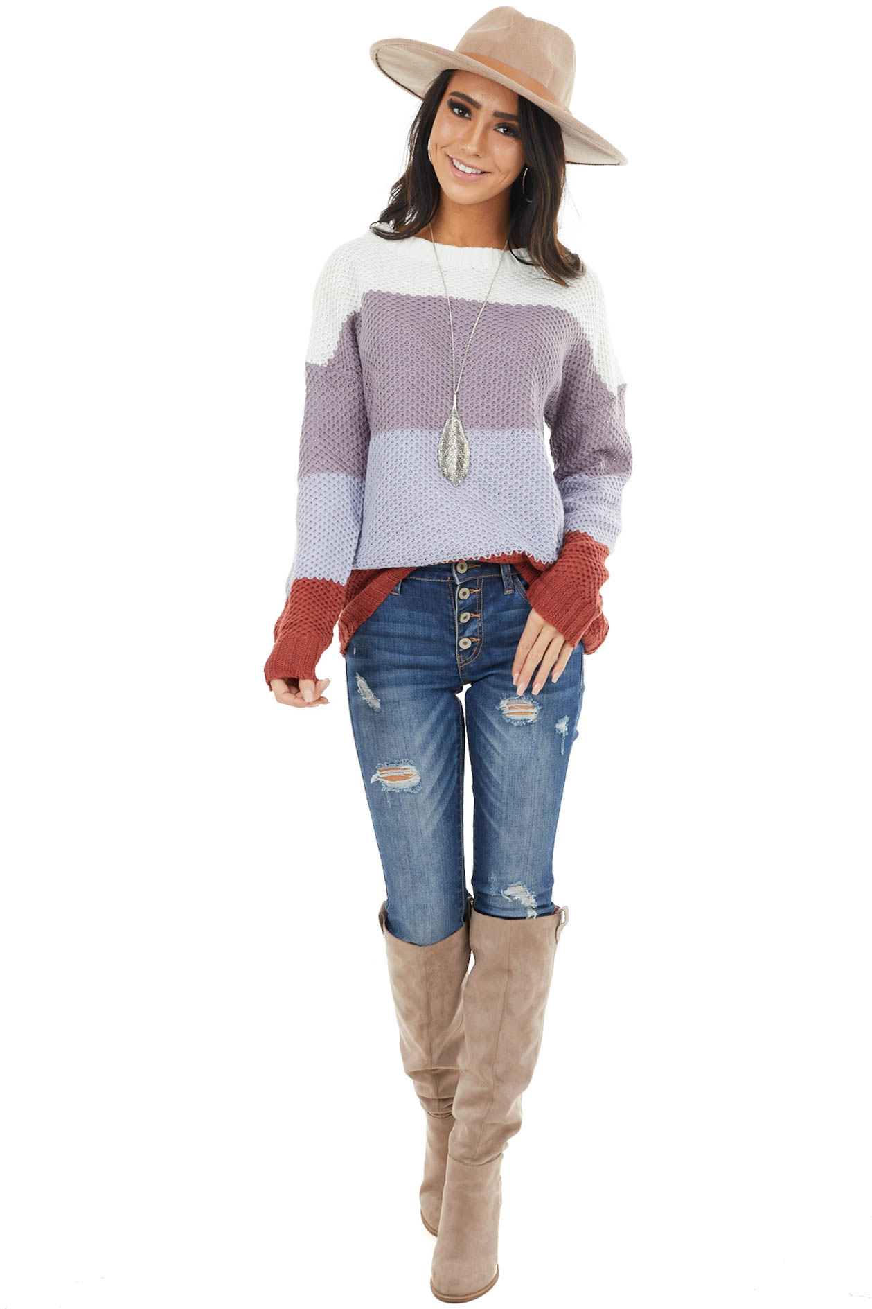 Lavender and Brick Color Block Loose Waffle Knit Sweater