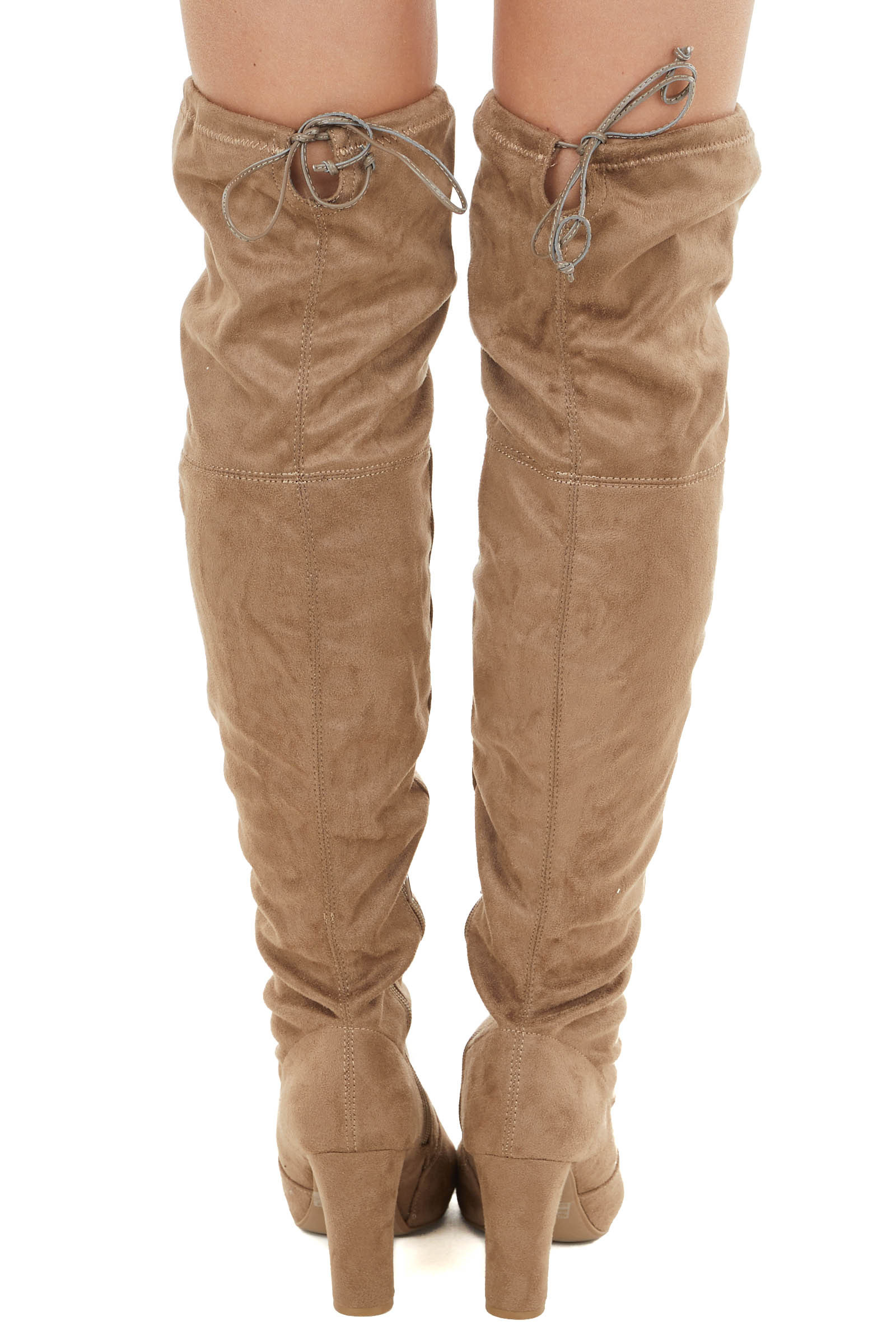 Taupe Faux Suede Above the Knee High Heel Boots with Tie