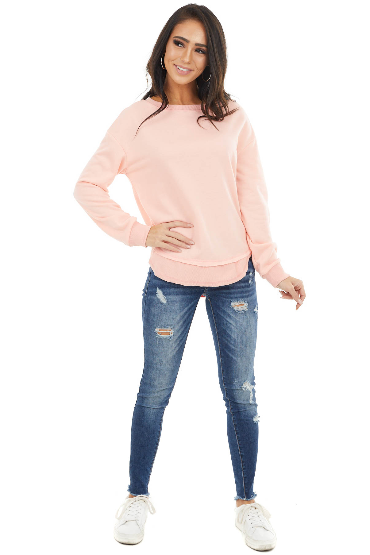 Neon Coral Long Sleeve Top with Frayed and Ribbed Details