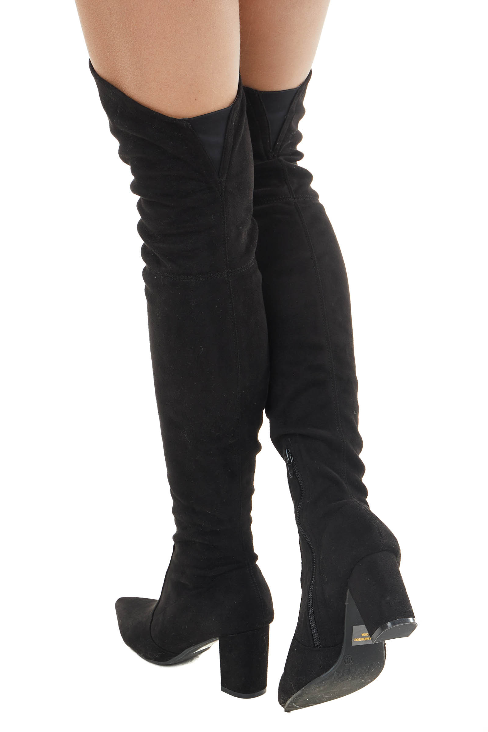 Black Faux Suede Above the Knee High Heel Boot