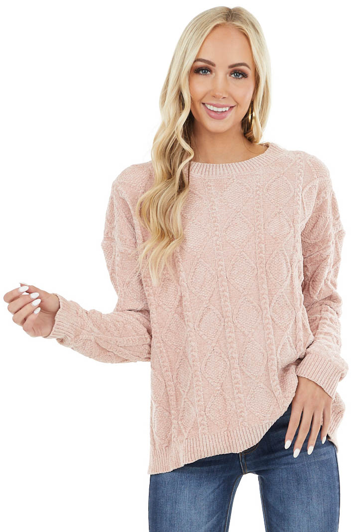 Blush Chenille Long Sleeve Soft Cable Knit Sweater
