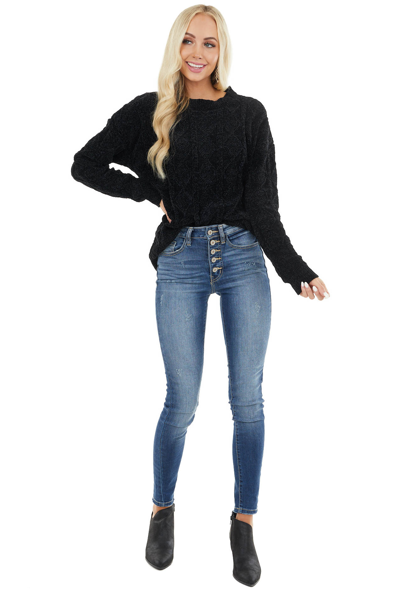 Black Chenille Long Sleeve Soft Cable Knit Sweater