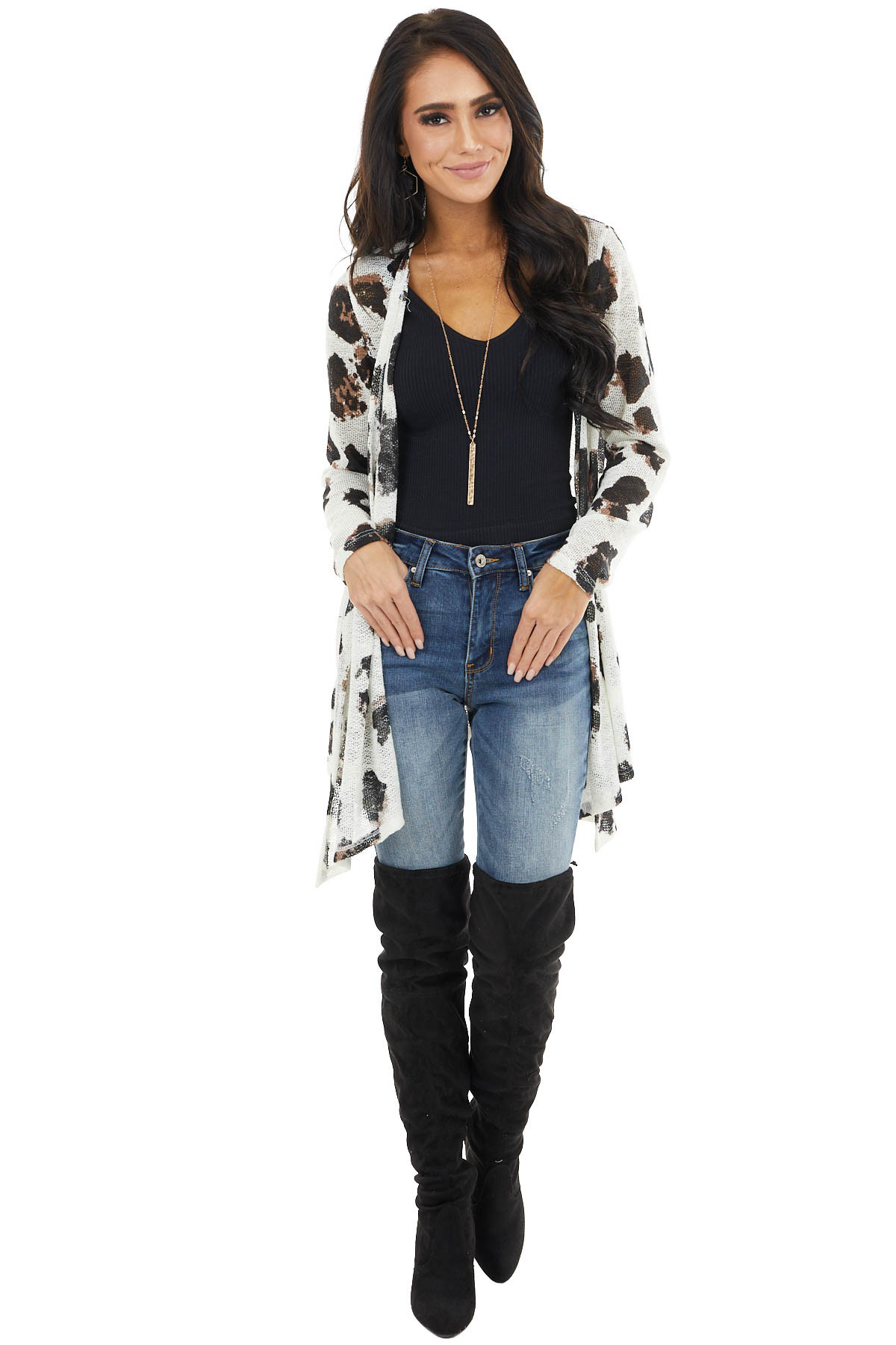 Ivory Large Leopard Print Open Front Knit Cardigan
