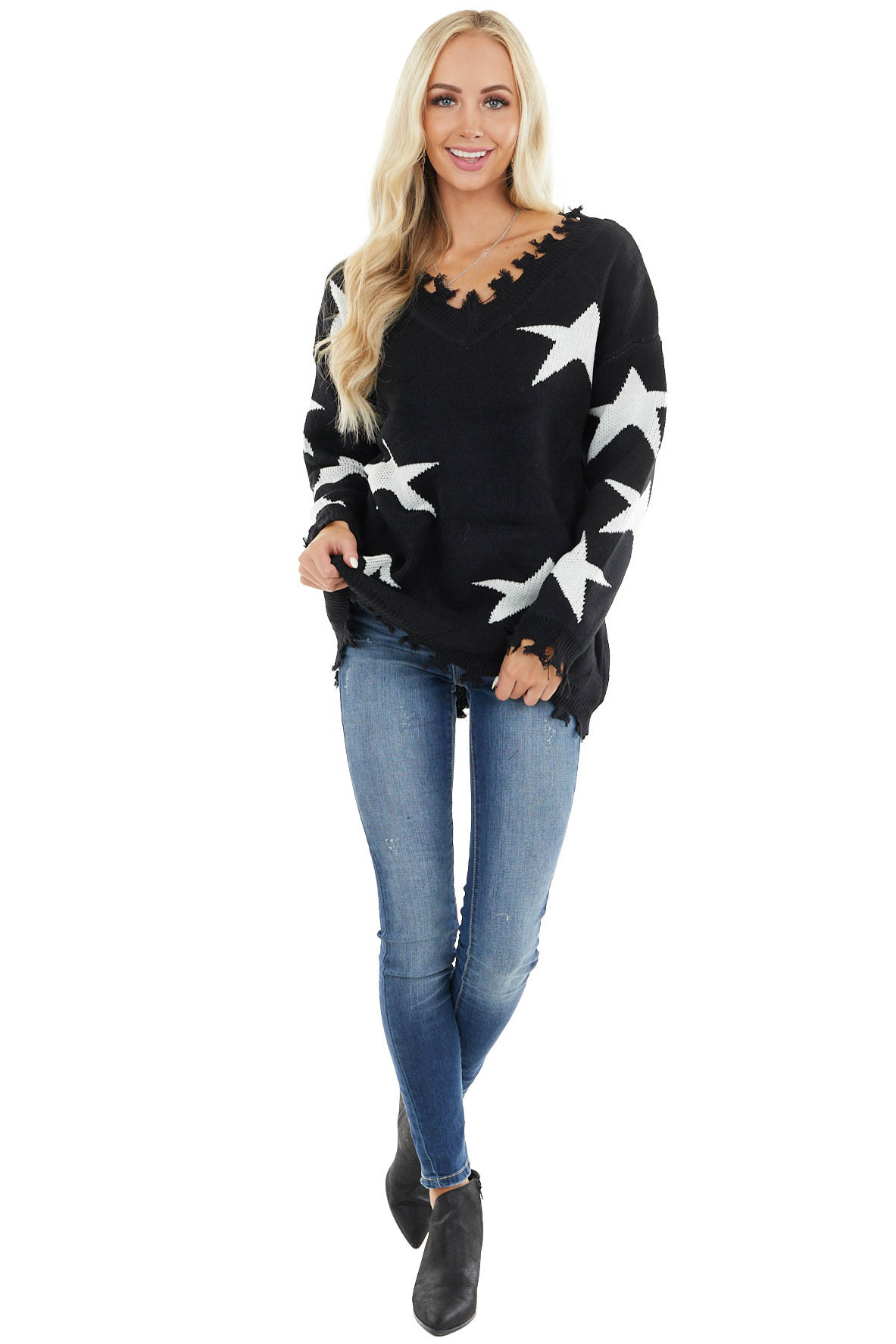 Black and Ivory Star Print Sweater Top with Fringe Detail