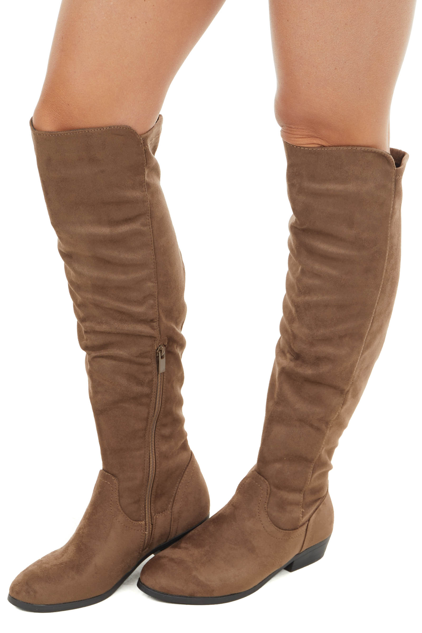 Taupe Faux Suede Knee High Boots with Small Heel
