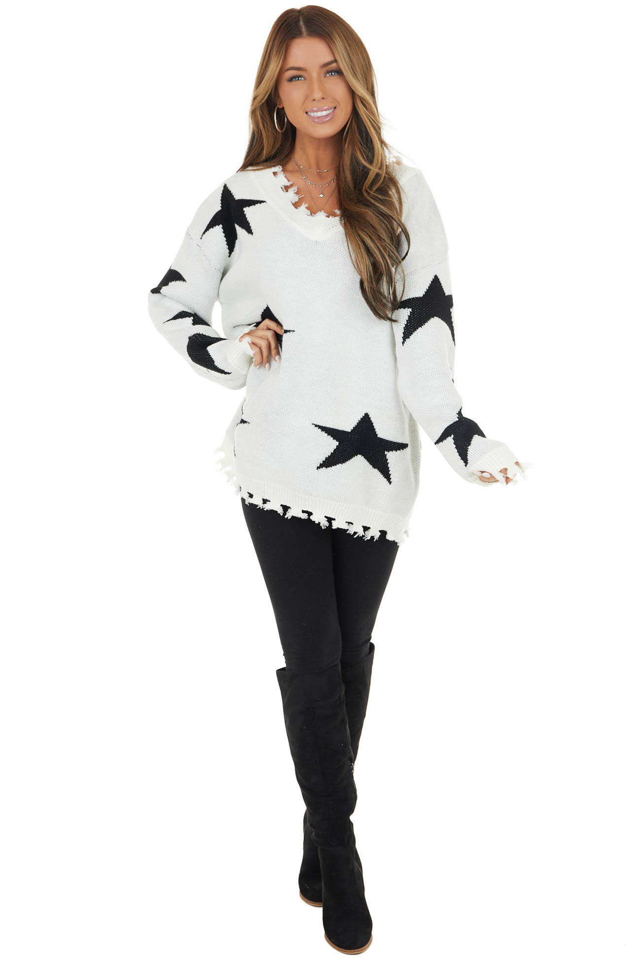 Ivory and Black Star Print Sweater Top with Fringe Detail
