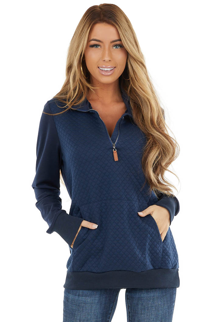 Navy Square Textured Pullover with Half Zipper and Pouch