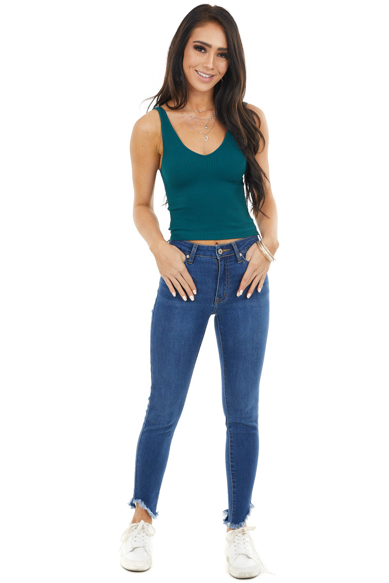 Pine V Neck Ribbed Knit Crop Top