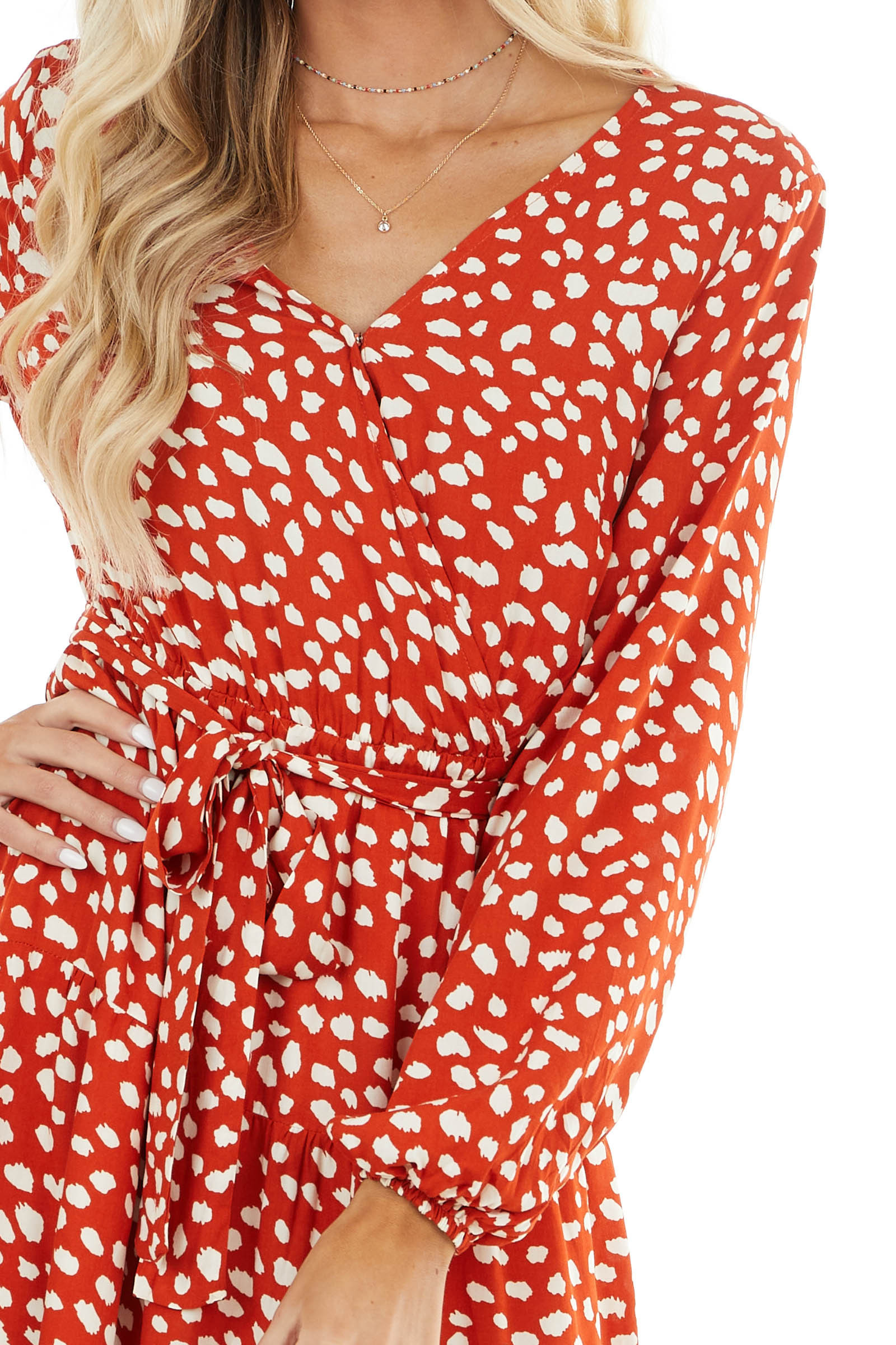 Rust Cheetah Print Surplice Midi Dress with Cinch Waist