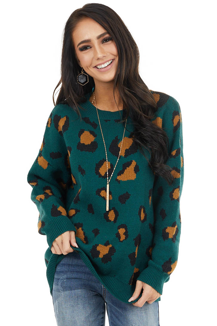 Forest Green Leopard Print Thick Cozy Knit Sweater