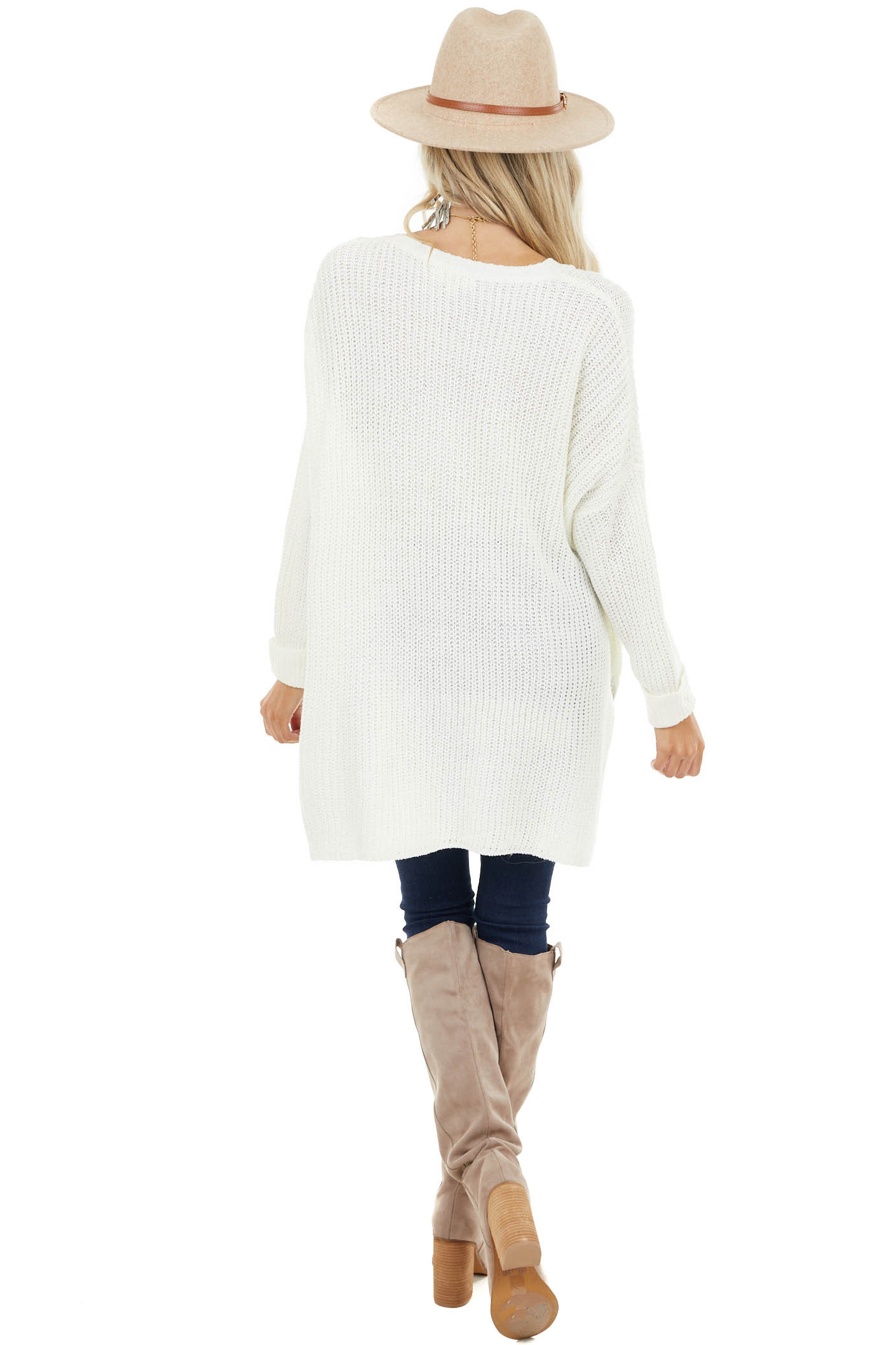 Cream Long Sleeve Oversized Sweater with Side Slit