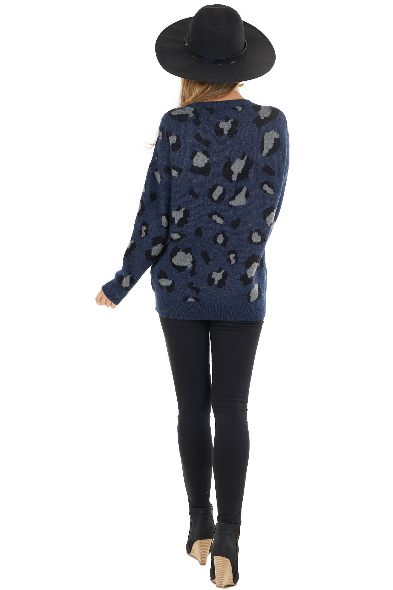 Heathered Navy Leopard Print Thick Cozy Knit Sweater