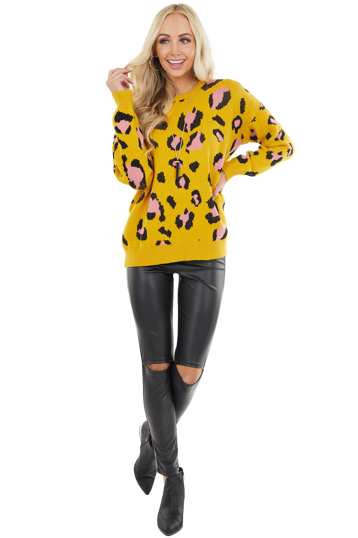 Mustard Leopard Print Thick Cozy Knit Sweater