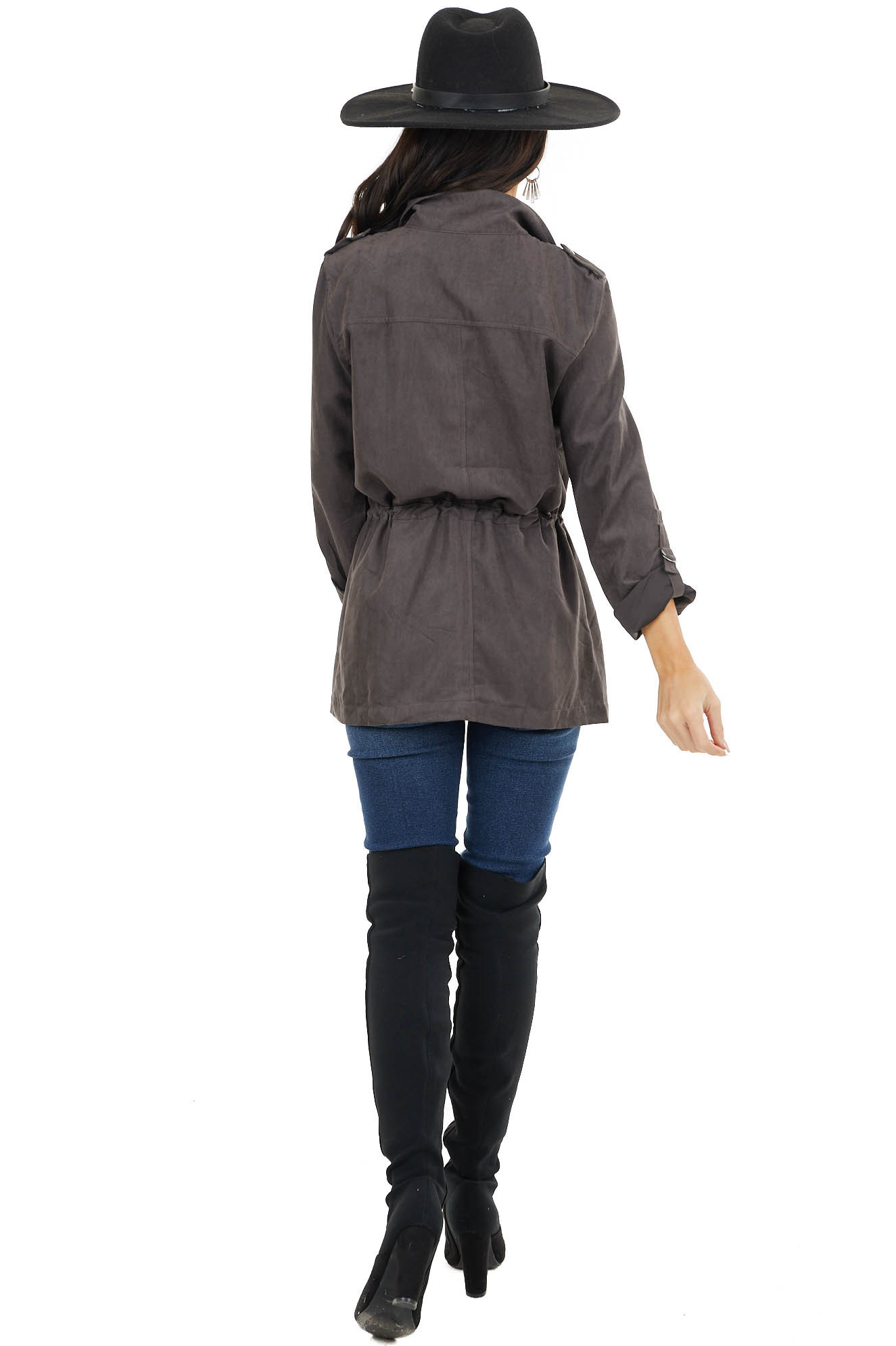 Cocoa Zip Up Jacket with Mock Neck and Drawstring Waist