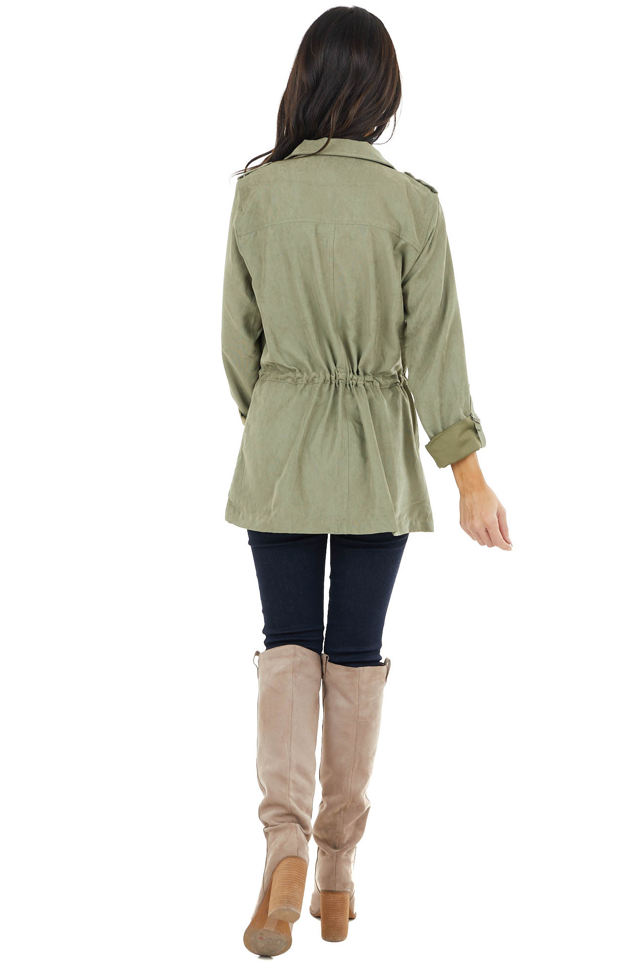 Sage Zip Up Jacket with Mock Neck and Drawstring Waist