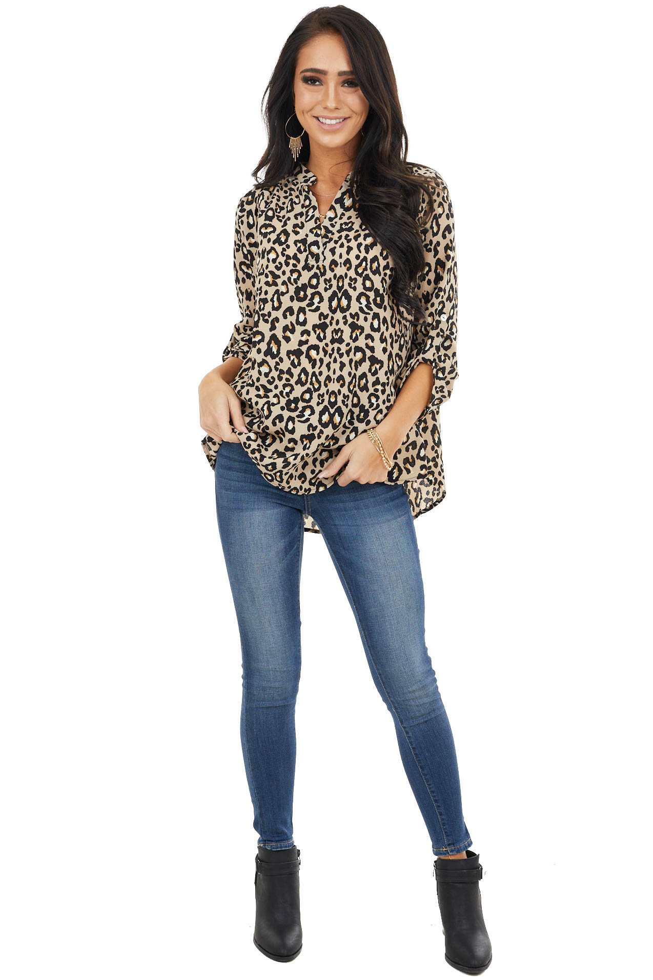 Latte Leopard Print High Low Woven Blouse with 3/4 Sleeves