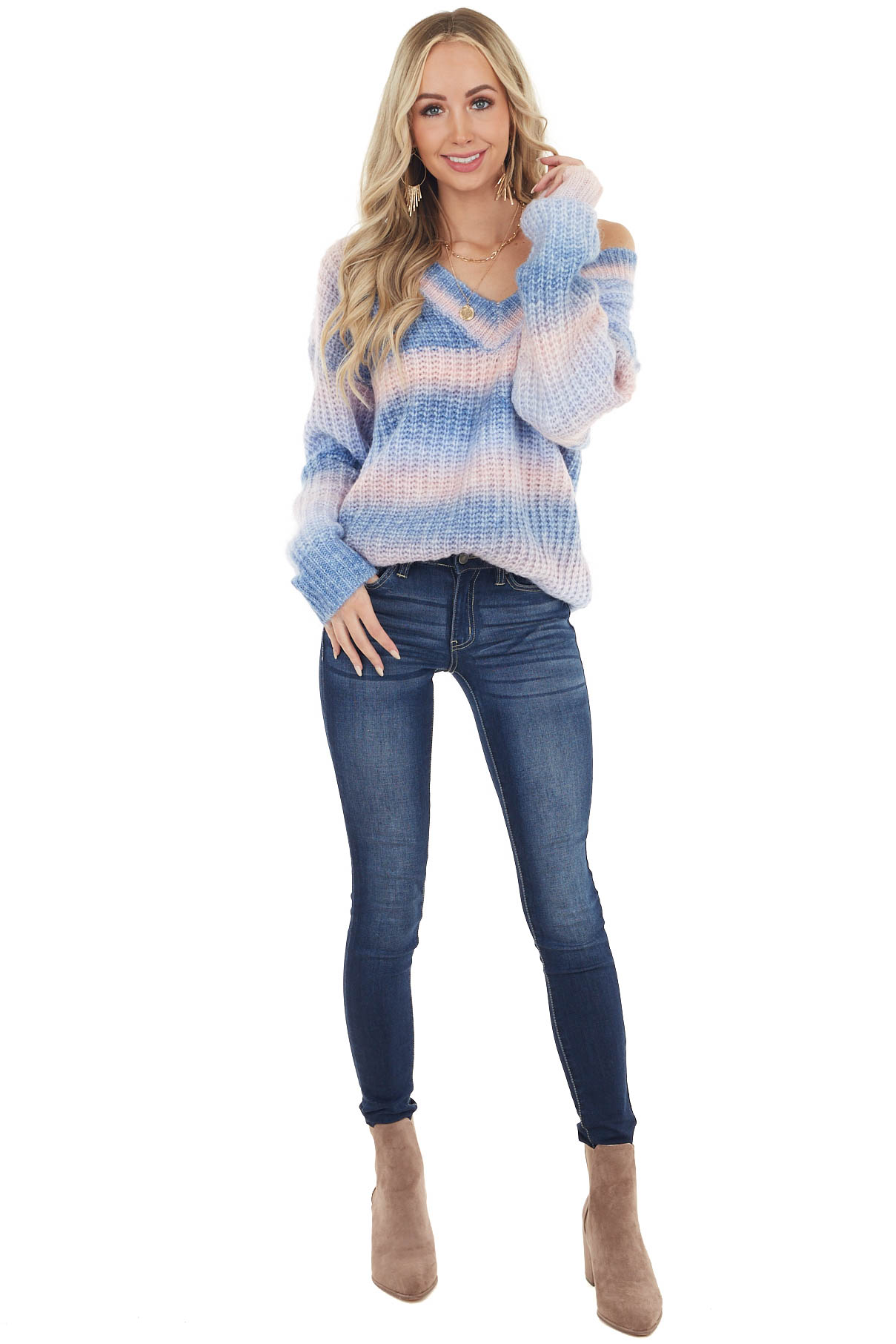 Multicolor Long Sleeve Knit Sweater with V Neck