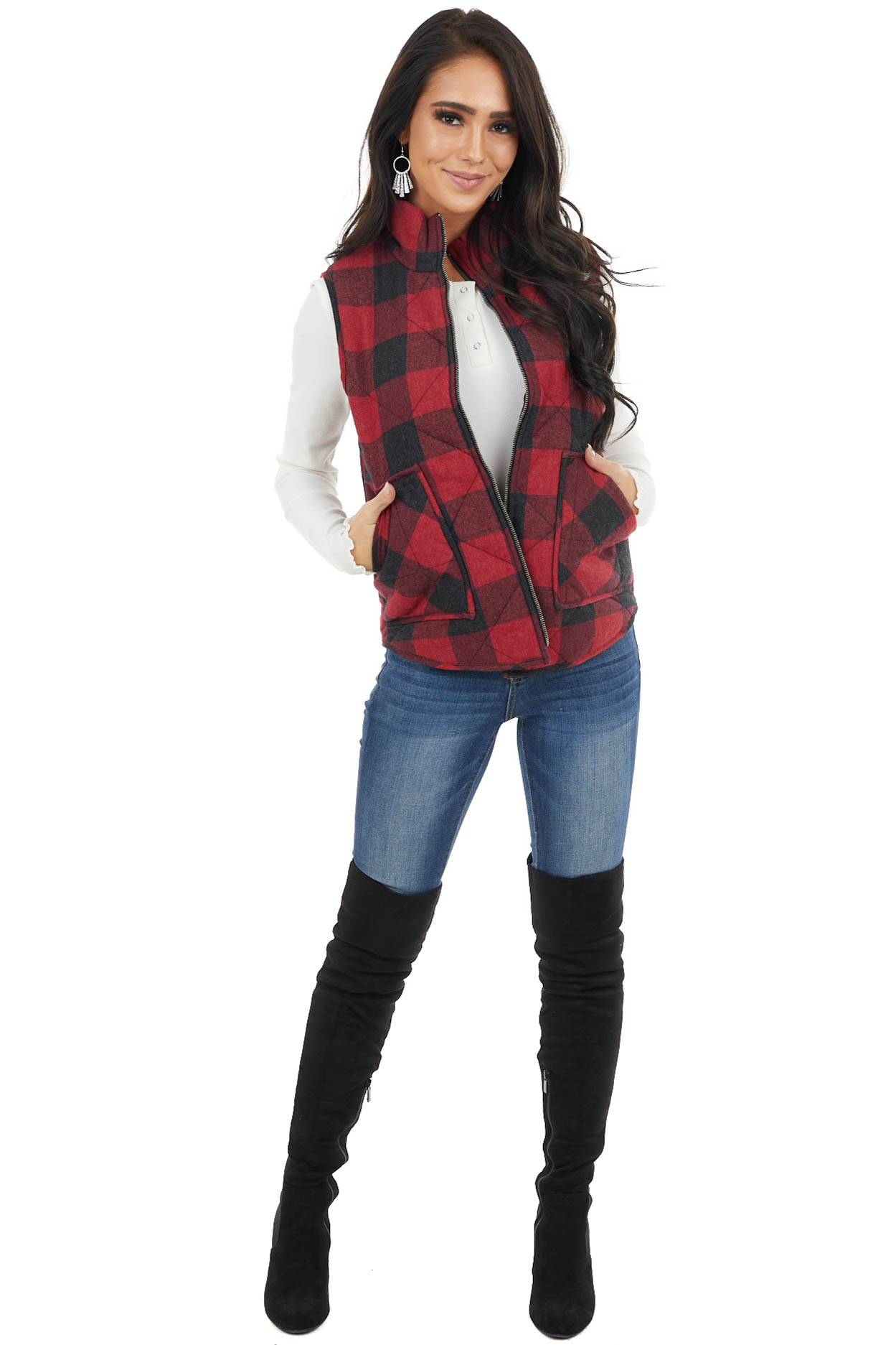 Cranberry Red Buffalo Plaid Padded Zip Up Vest with Pockets