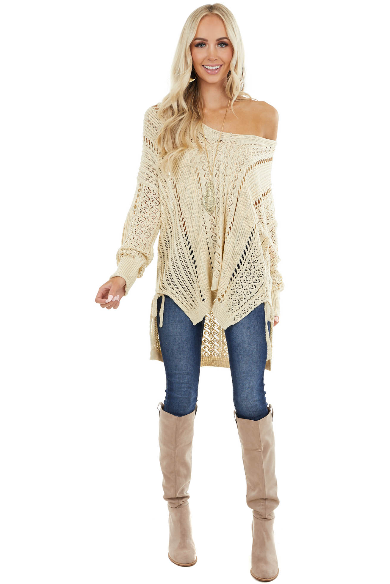 Cream Crochet Knit Long Sleeve Top with Side Slits
