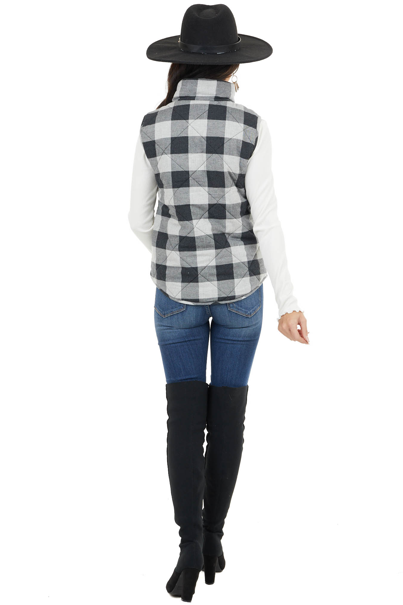 Dove Grey Buffalo Plaid Padded Zip Up Vest with Pockets