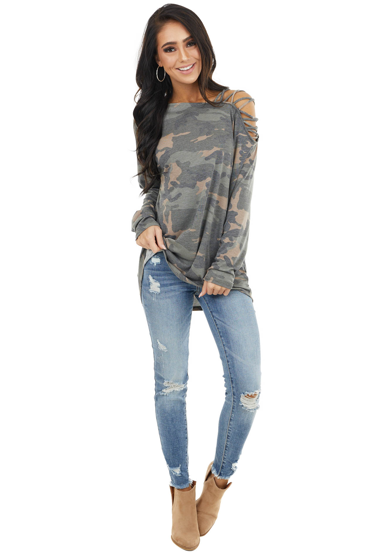 Hunter Green Camo Long Sleeve Knit Top with Ladder Detail