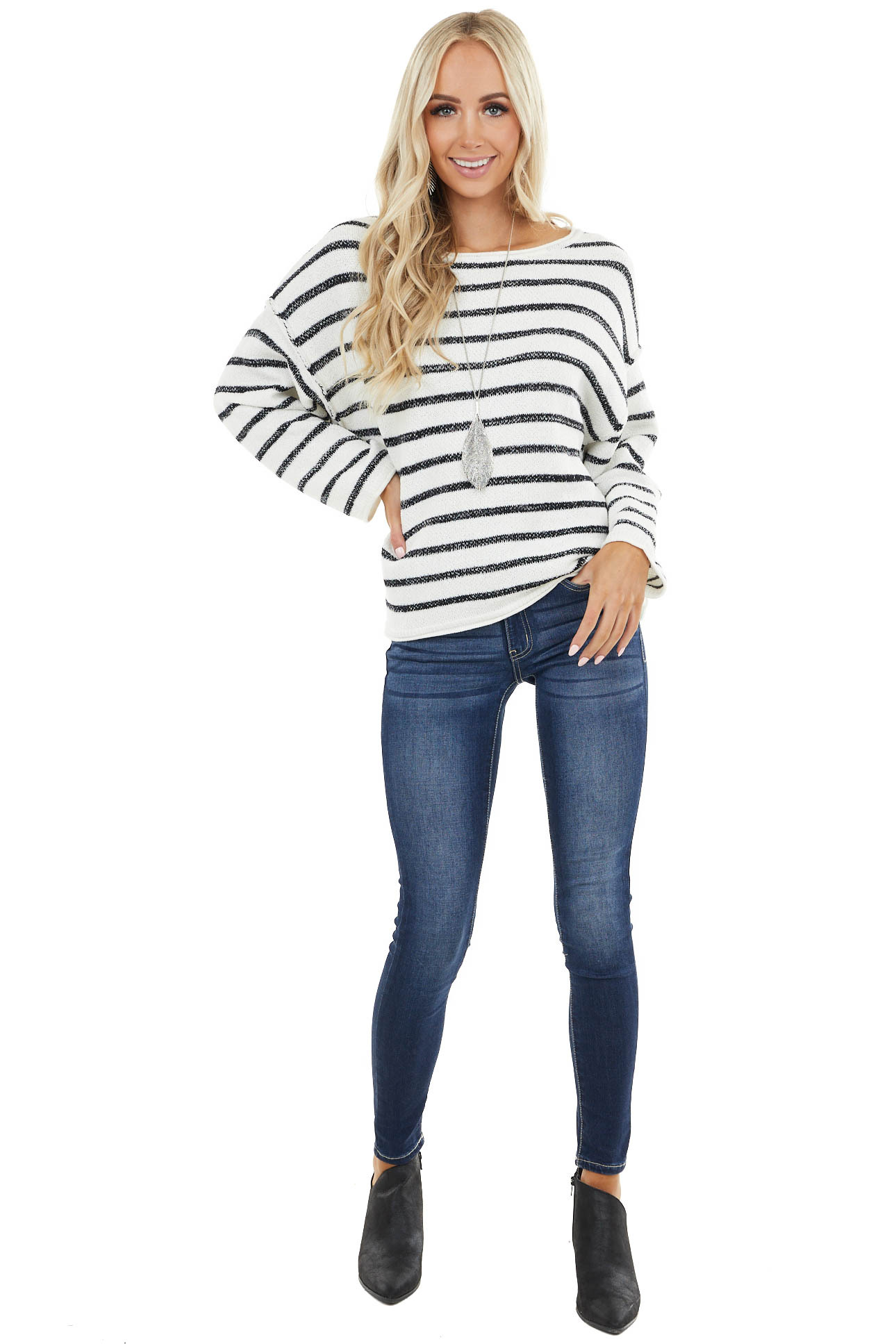 Pearl and Black Striped Long Sleeve Sweater with Raw Edge