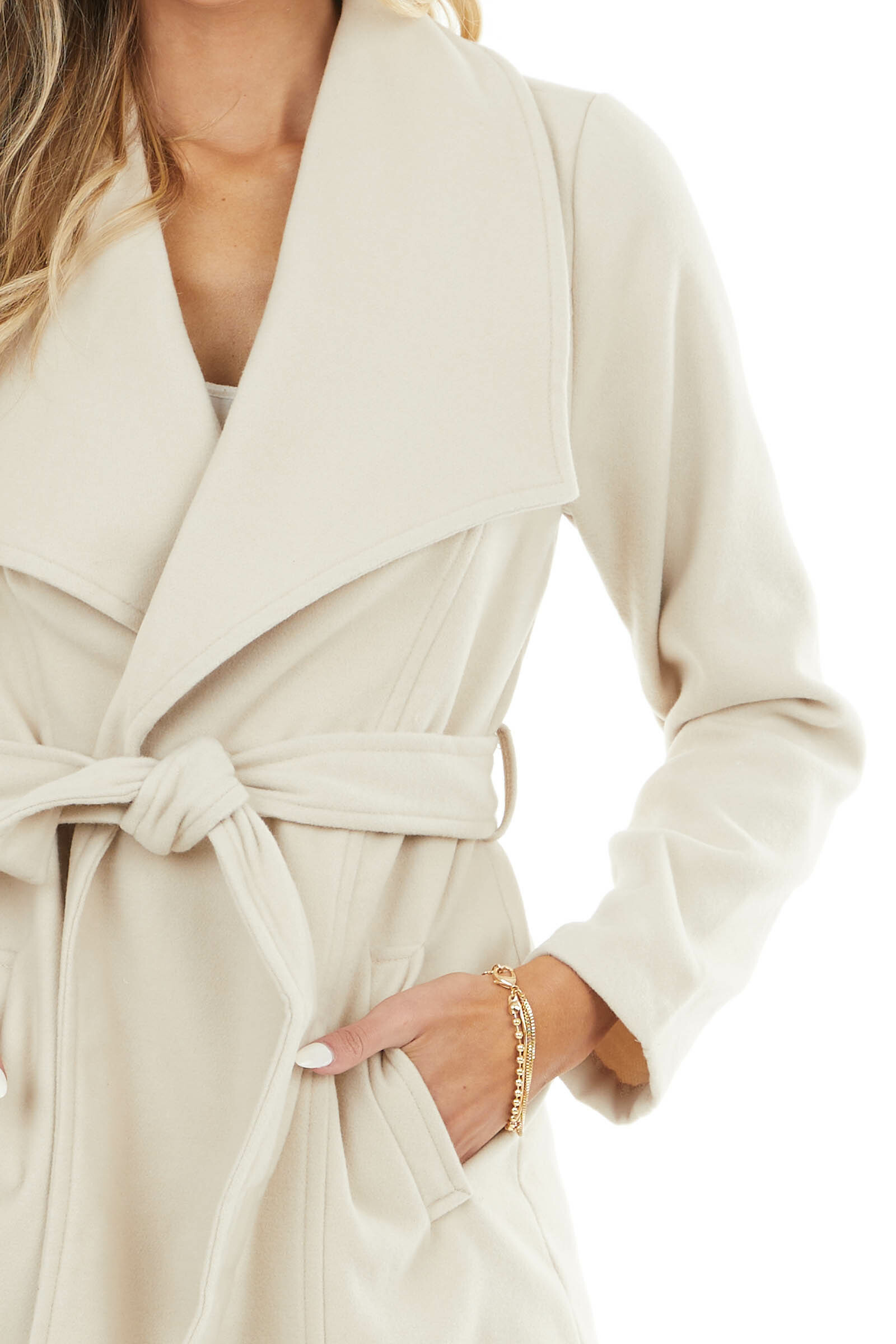 Champagne Open Front Fleece Coat with Pockets and Front Tie