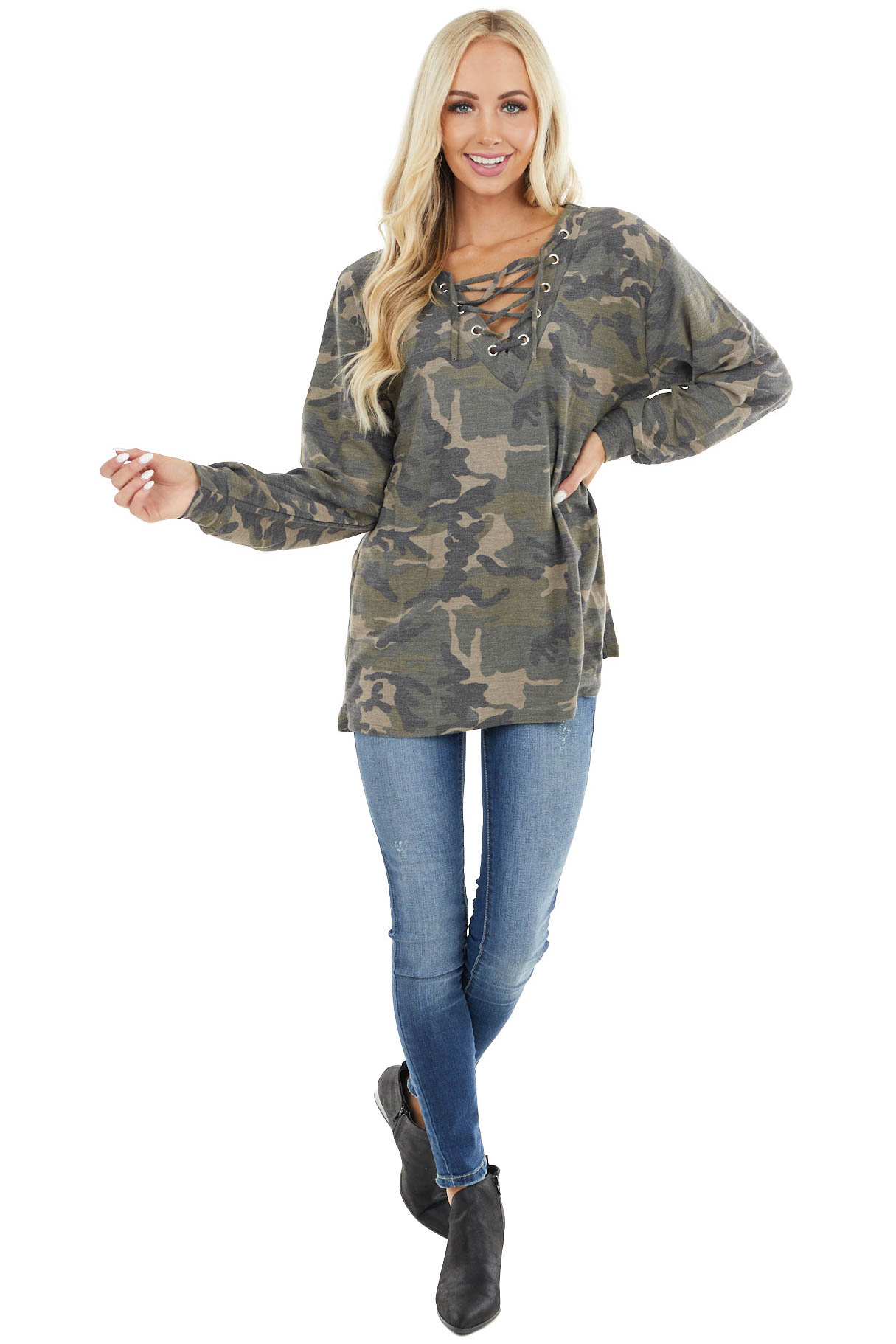 Forest Green Camo Knit Long Sleeve Top with Caged V Neck