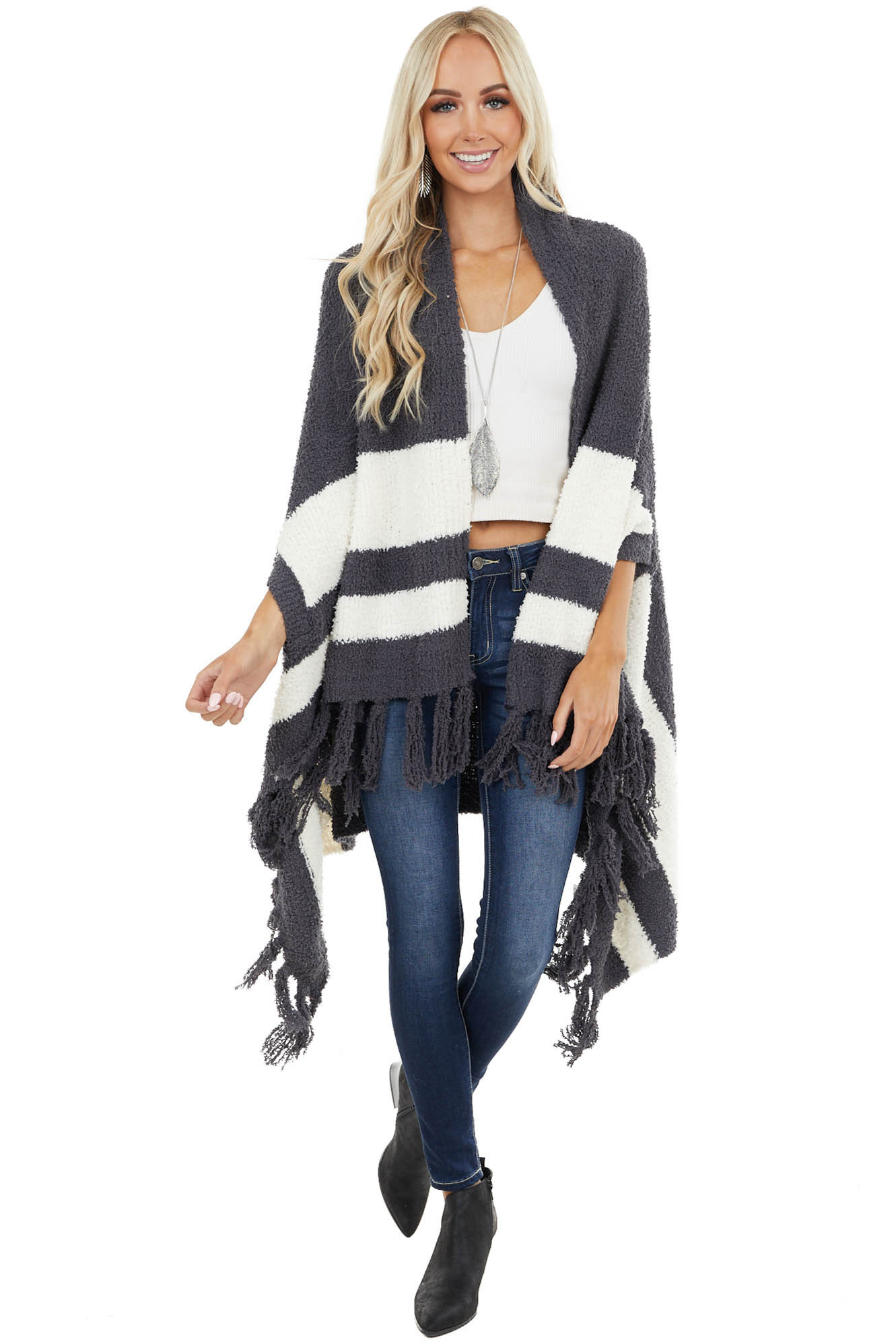 Charcoal Super Soft Poncho with Stripes and Fringe Details