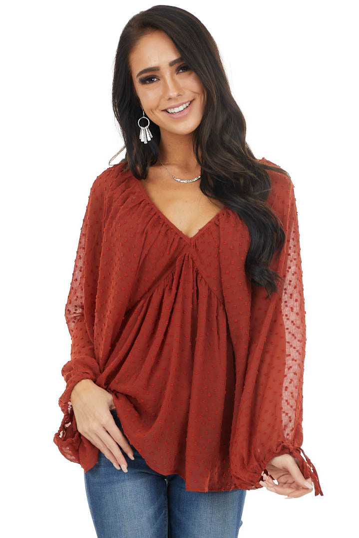Brick Red Woven Swiss Dot Babydoll Blouse with V Neck