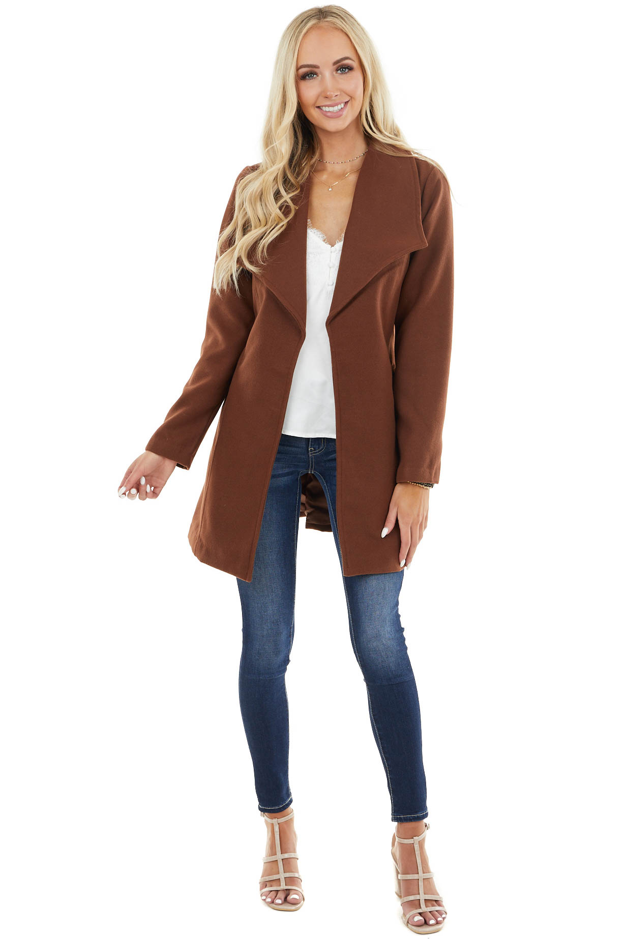 Chocolate Open Front Fleece Coat with Pockets and Front Tie