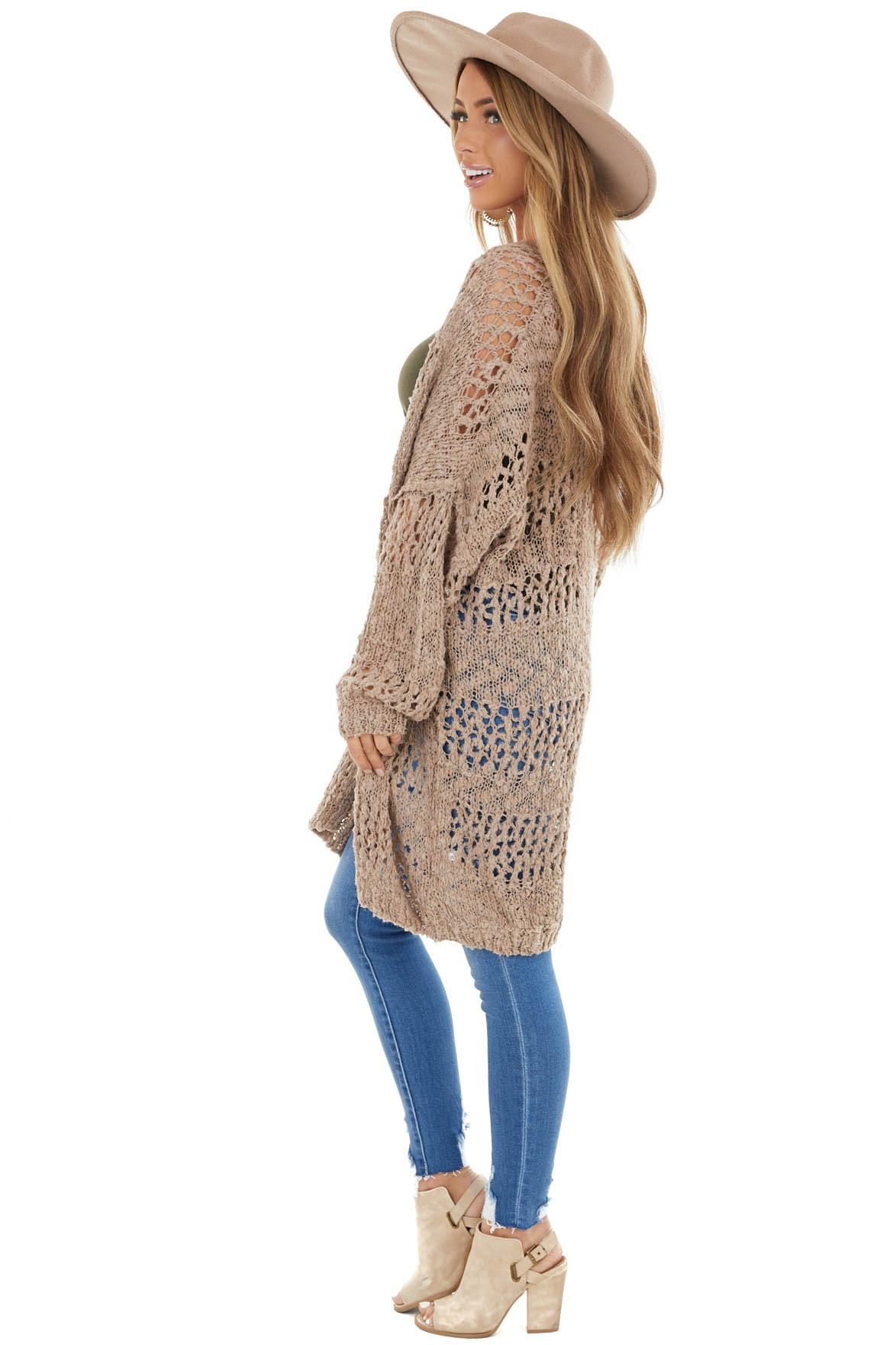 Latte Oversized Knit Open Front Cardigan with Long Sleeves