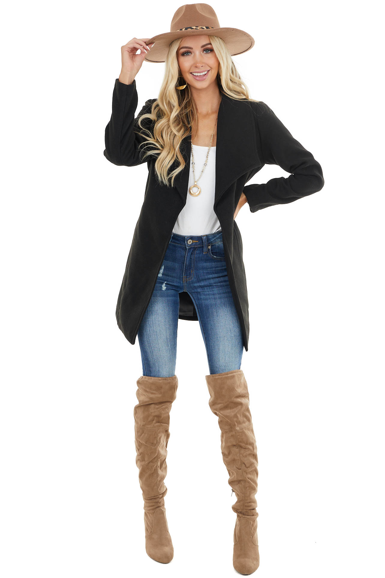 Black Open Front Fleece Coat with Pockets and Front Tie