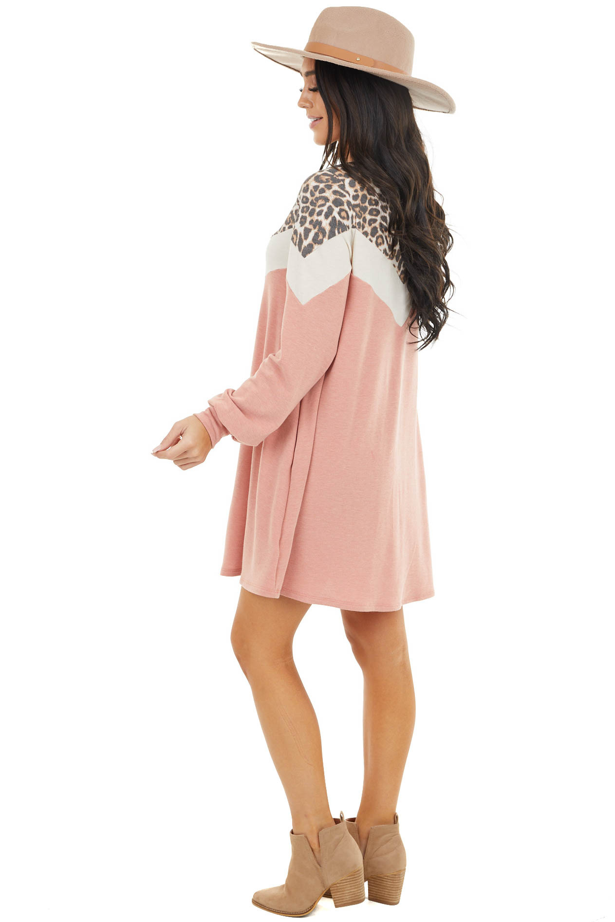 Faded Coral Long Sleeve Colorblock Dress with Leopard Detail