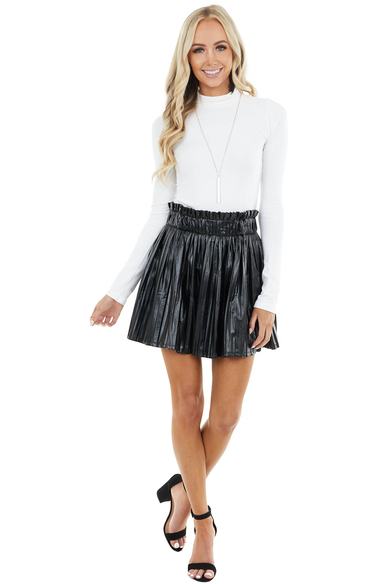 Black Faux Leather Pleated Mini Skirt with Elastic Waist