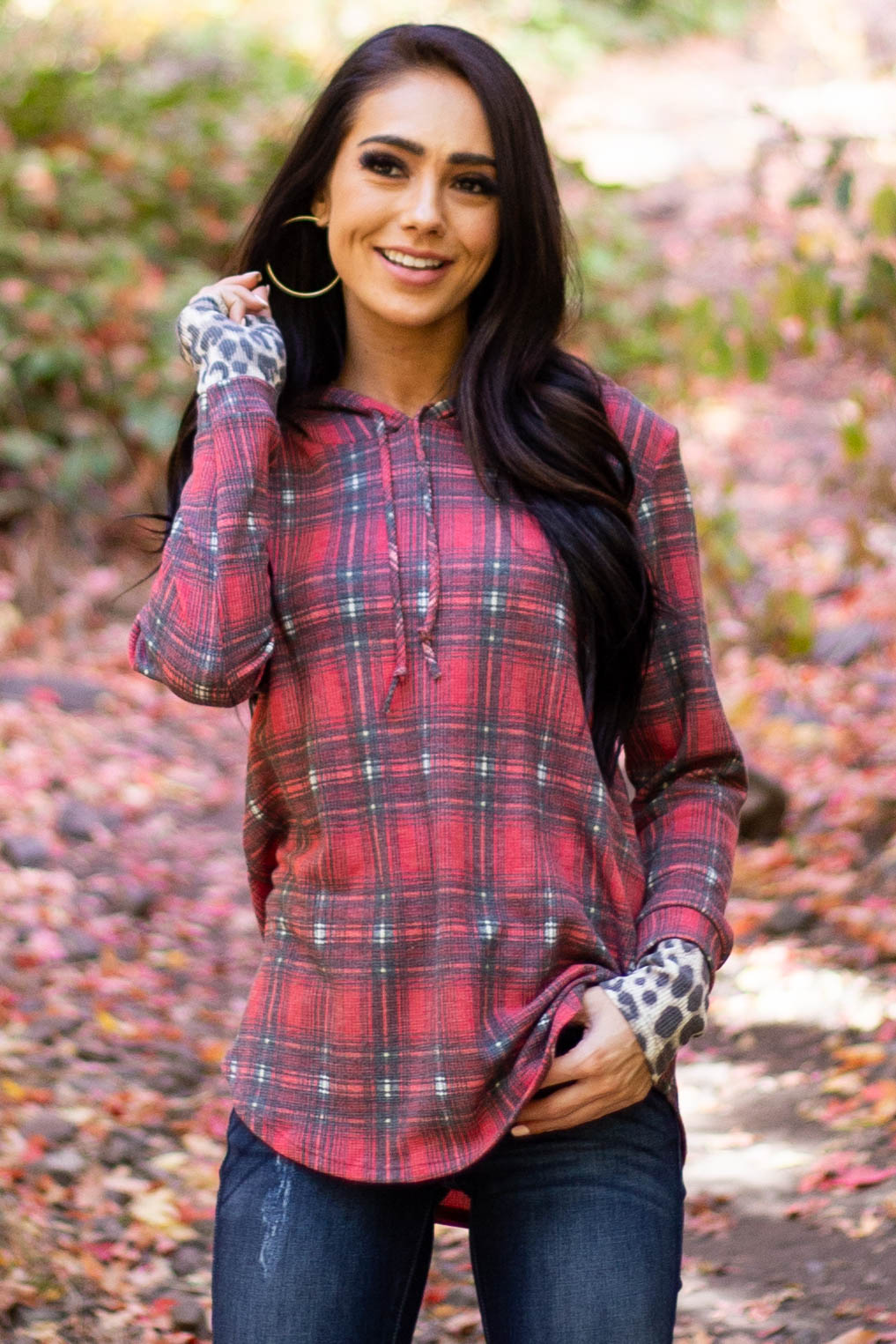 Cherry Red Plaid and Leopard Long Sleeve Knit Top with Hood