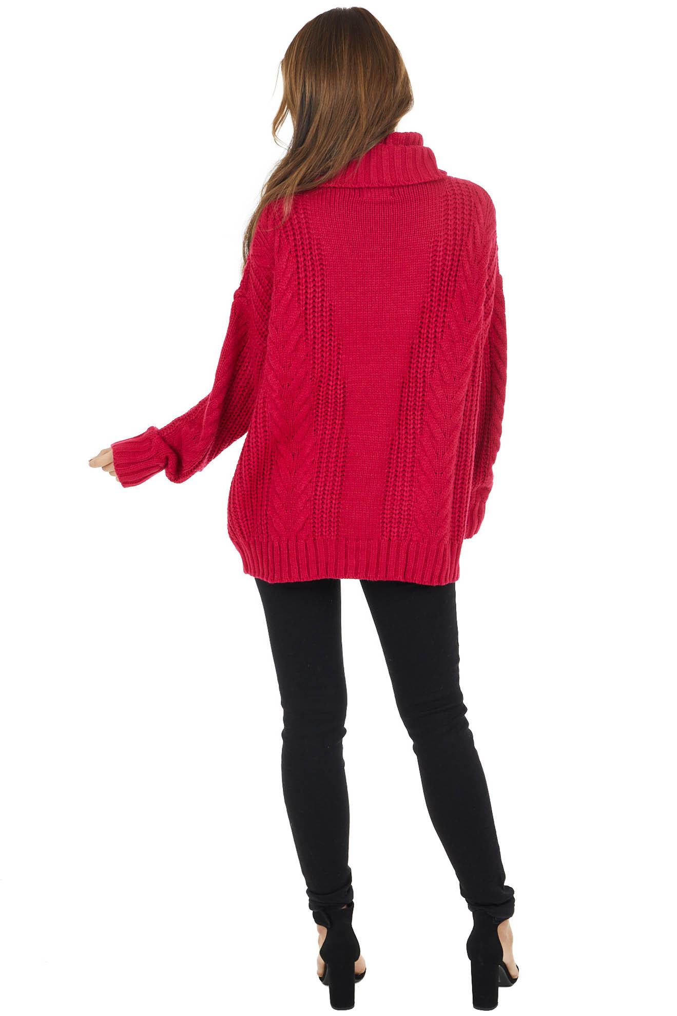 Berry Pink Cable Knit Long Sleeve Sweater with Turtleneck