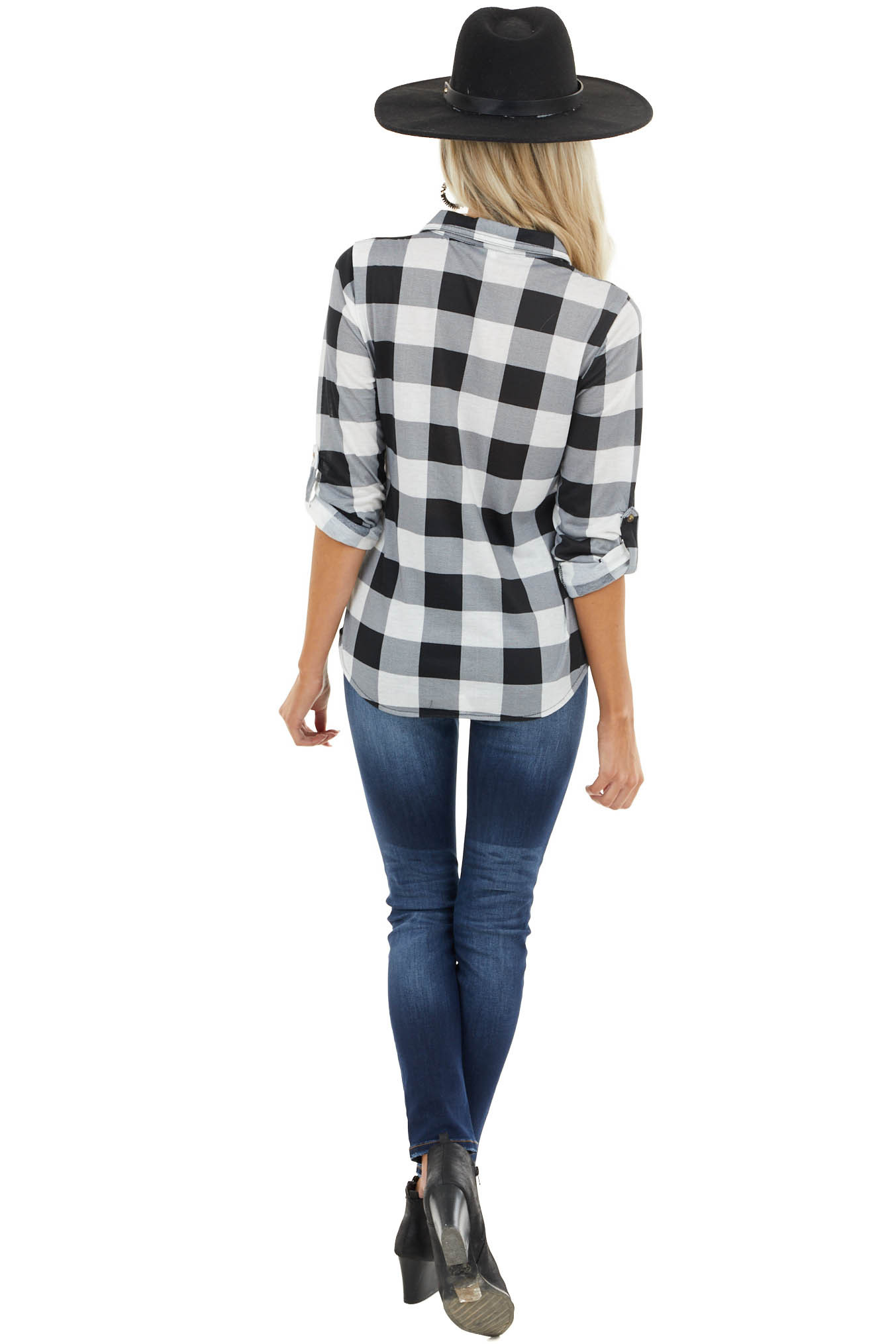 Black Buffalo Plaid Button Closure Top with Chest Pockets