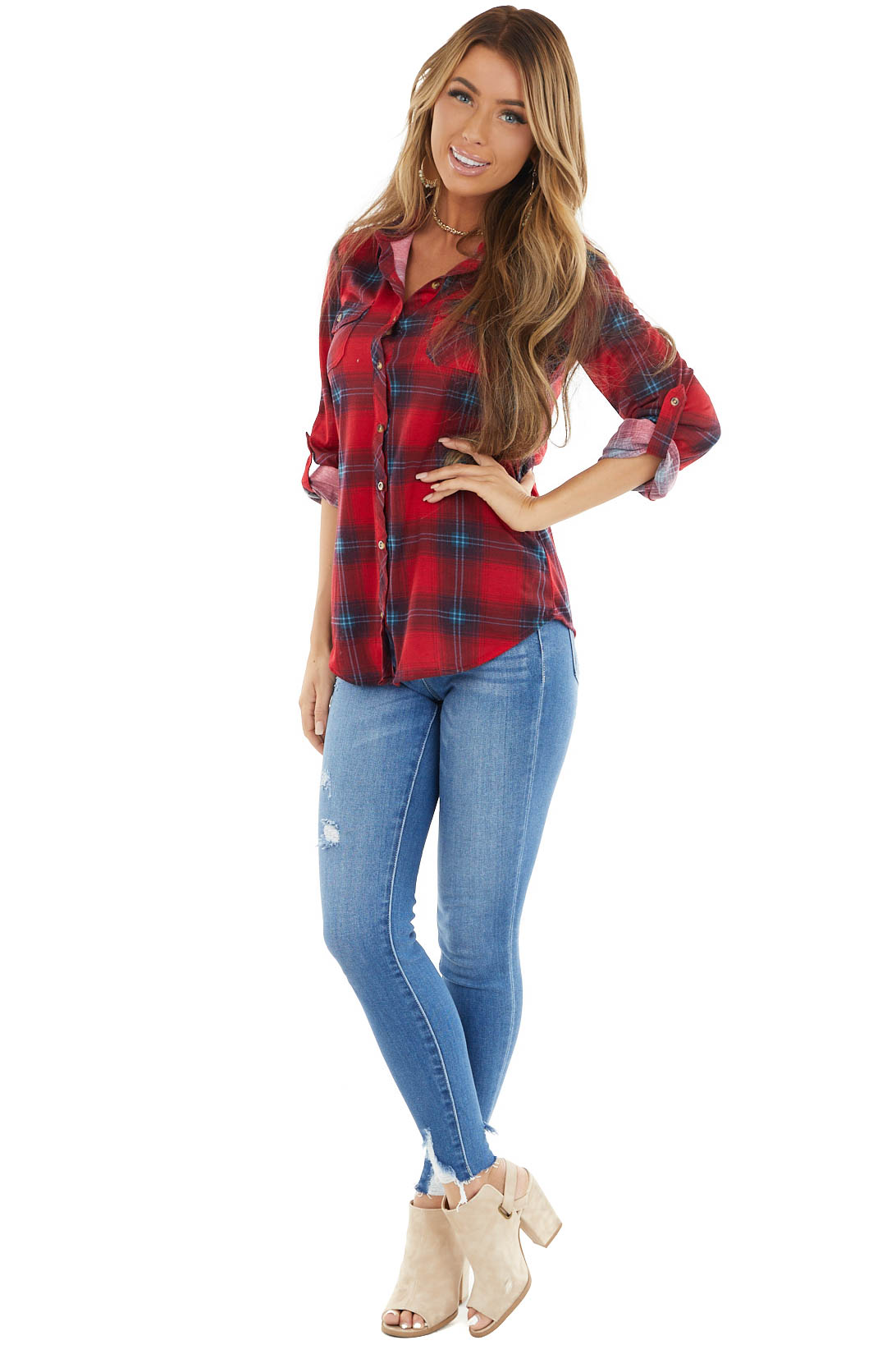Crimson and Blue Plaid Button Closure Top with Chest Pockets