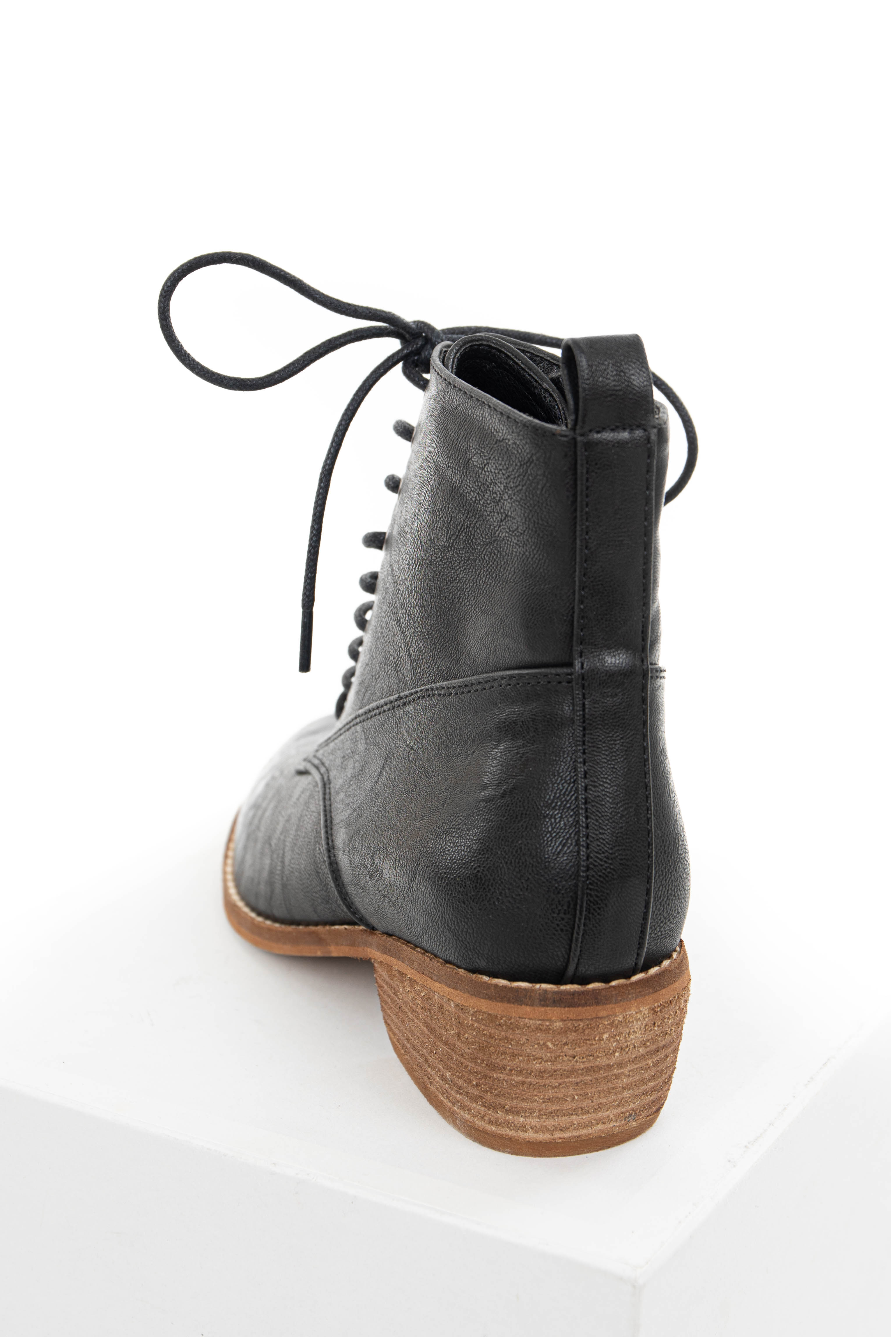 Black Faux Leather High Heeled Booties with Lace Up Front
