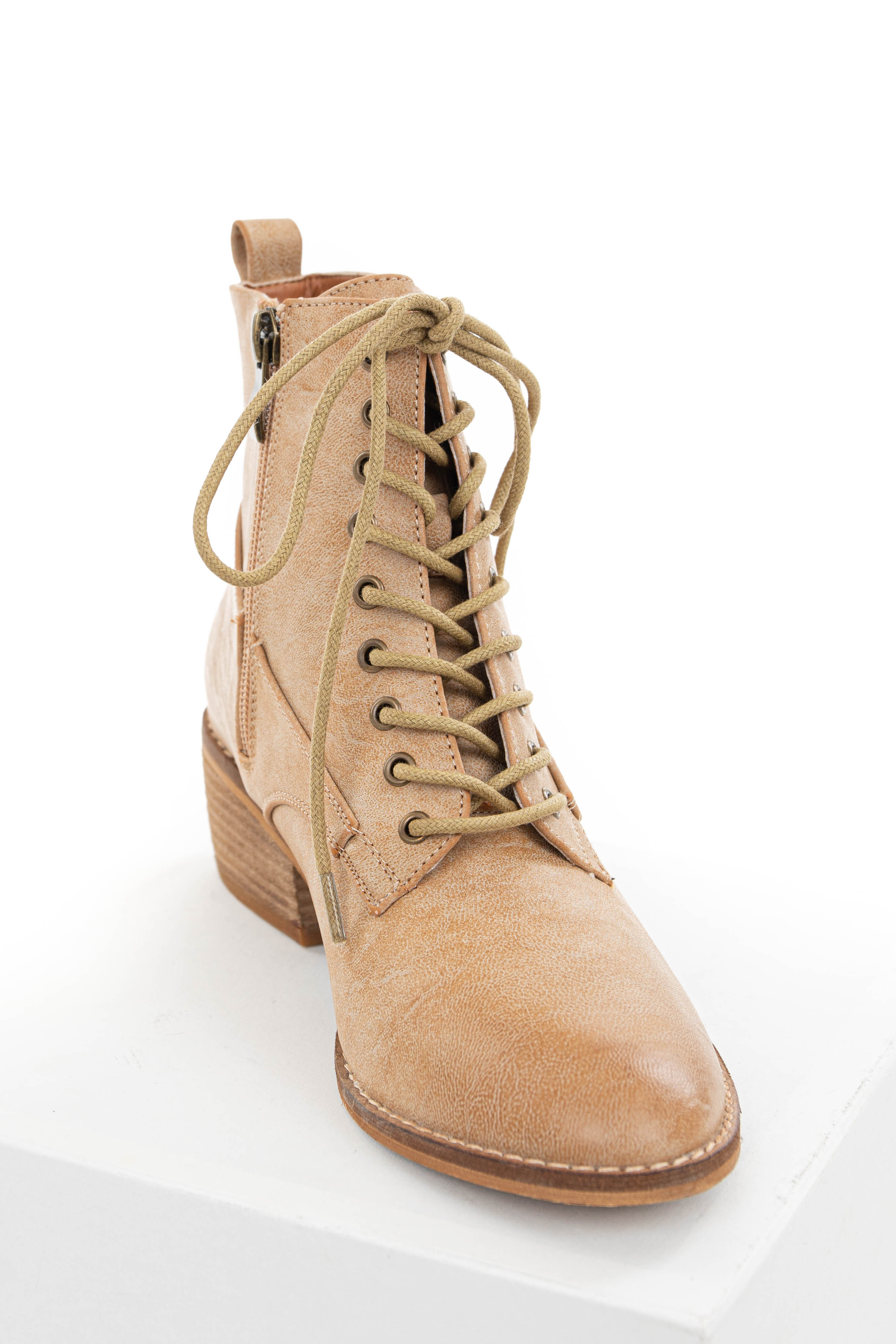 Desert Sand Faux Leather Heeled Booties with Lace Up Front
