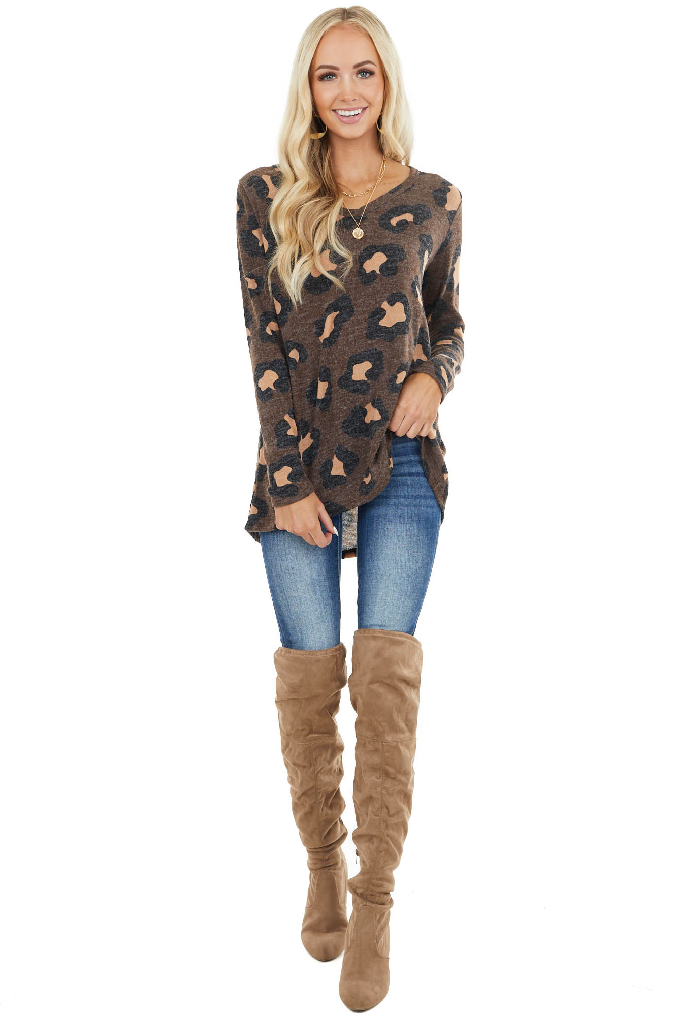 Chocolate Leopard Print Round Neck Long Sleeve Knit Top