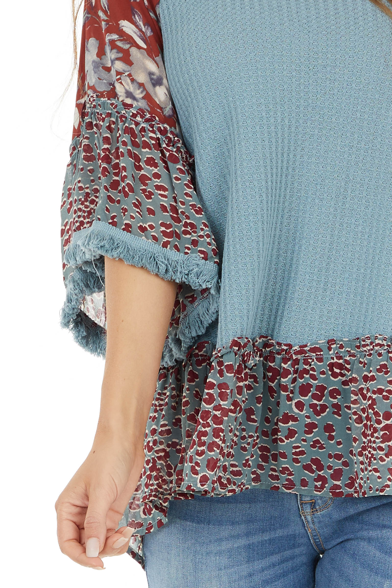 Powder Blue Multiprint Waffle Knit Top with Fringe Detail