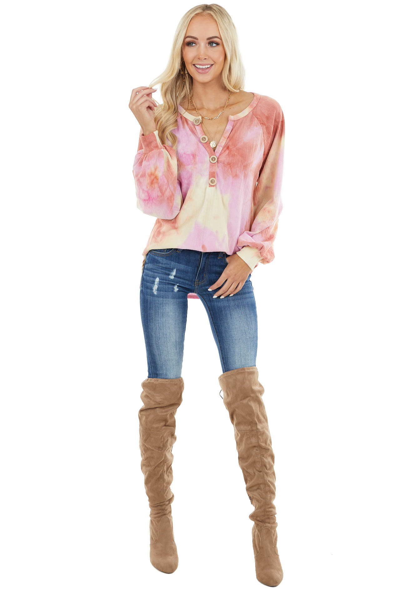 Dark Coral Tie Dye Knit Top with Long Bubble Sleeves
