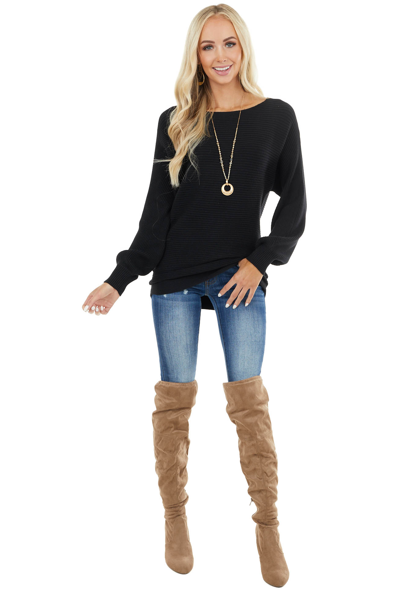 Black Ribbed Knit Sweater with Long Puff Sleeves