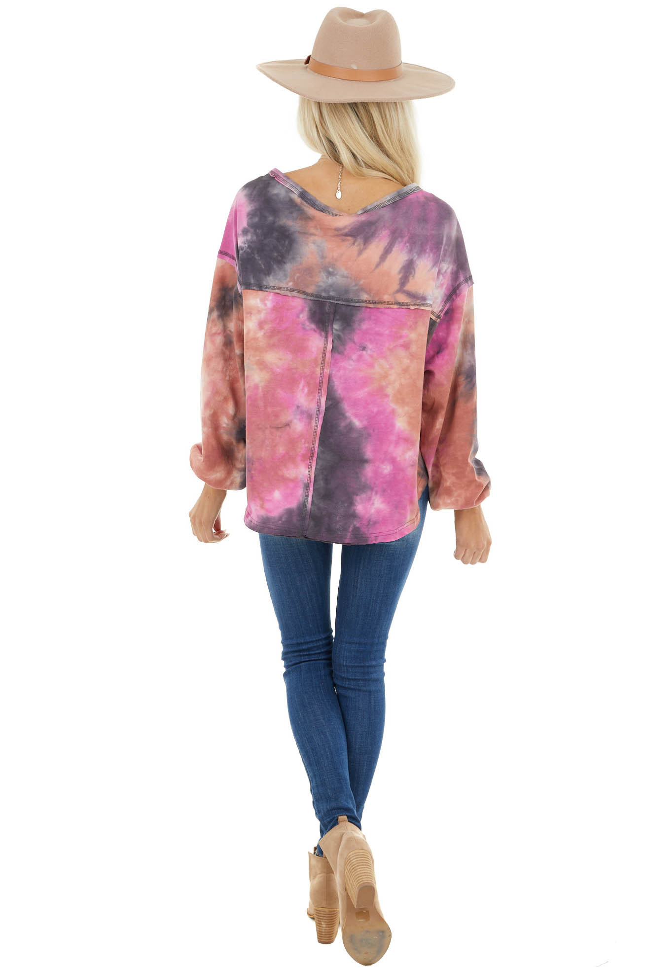 Charcoal Tie Dye Long Sleeve Knit Top with Stitching Detail