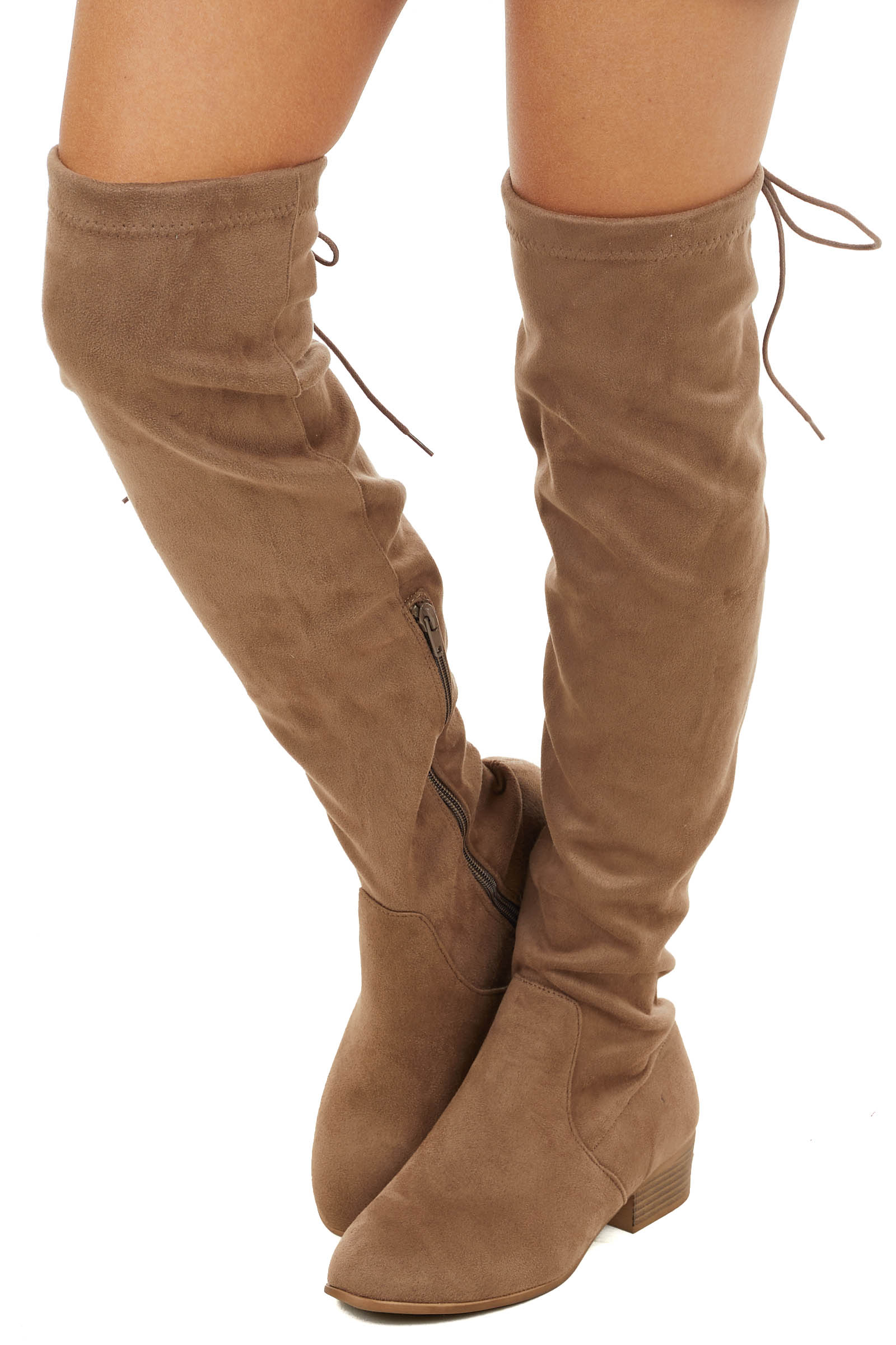 Cognac Faux Suede Knee High Boot with Back Lace Up Detail